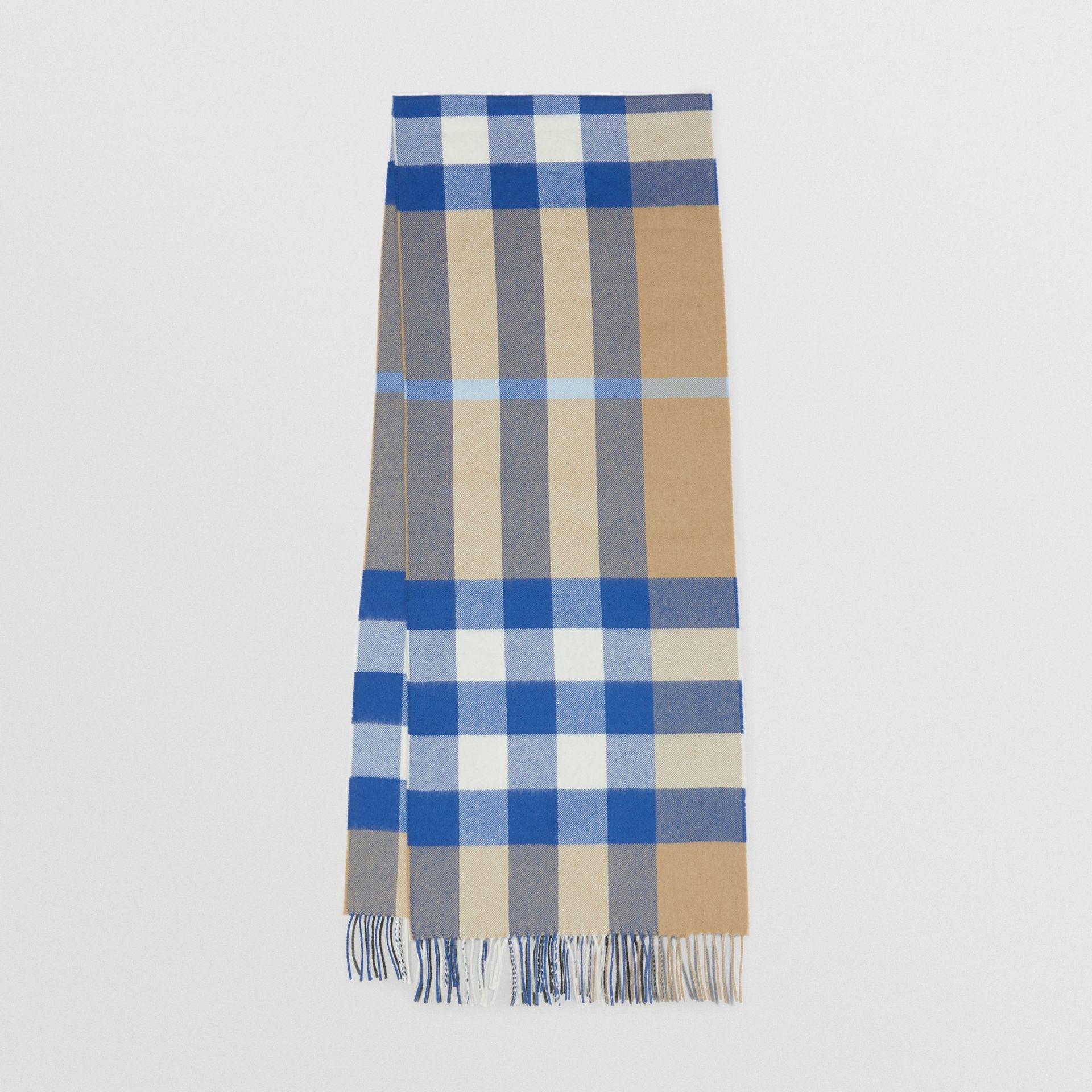Check Cashmere Scarf in Arc Beige/inky Blue | Burberry - gallery image 0