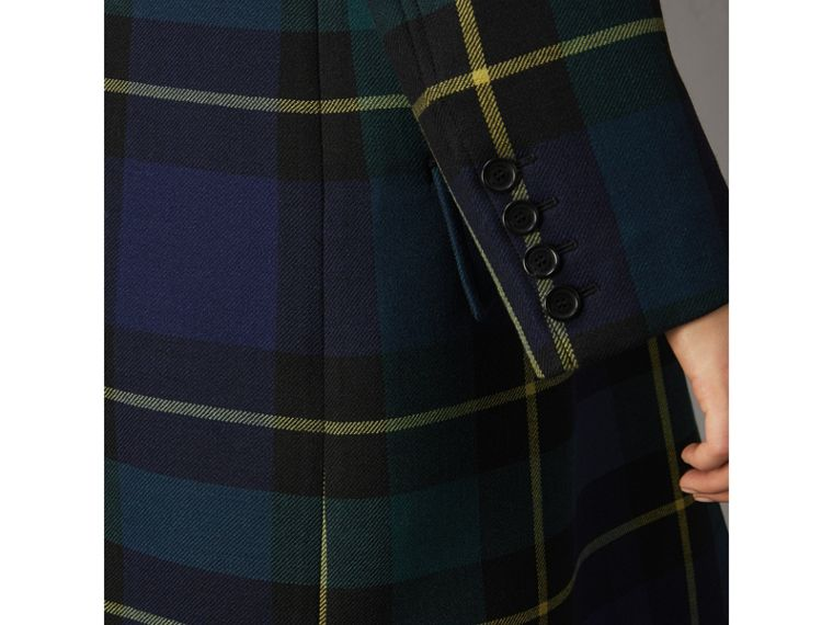Lightweight Tartan Wool Tailored Coat in Pine Green - Women | Burberry - cell image 4