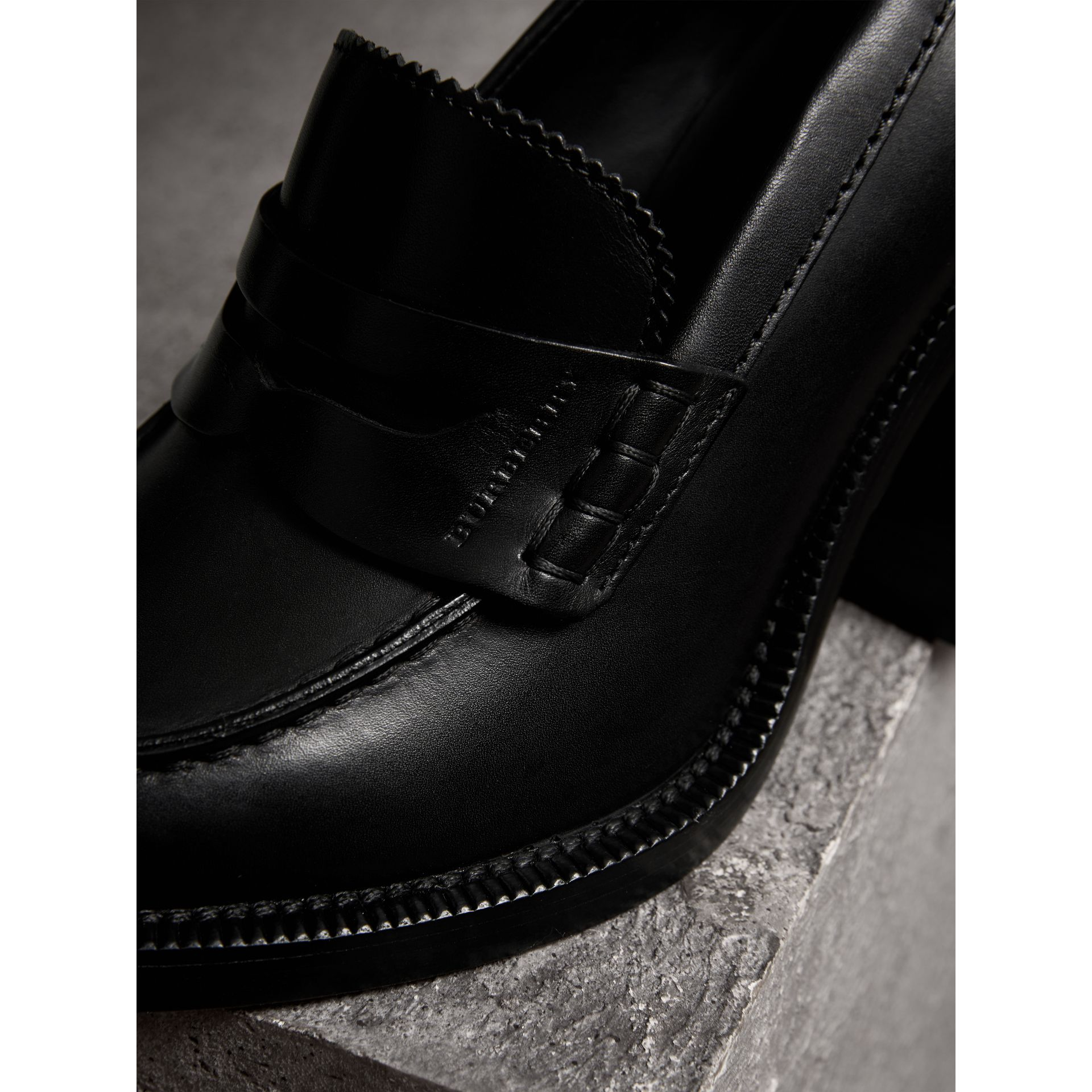 Leather Block-heel Penny Loafers in Black - Women | Burberry - gallery image 1