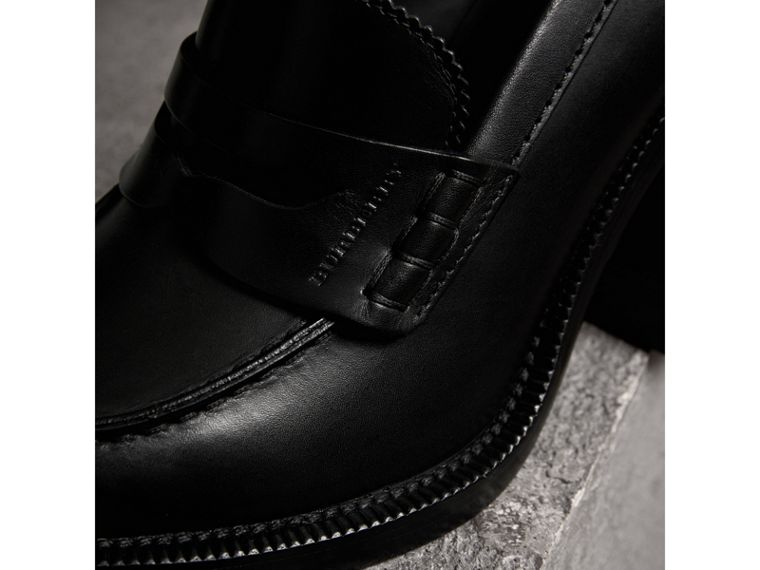 Leather Block-heel Penny Loafers in Black - Women | Burberry United States - cell image 1