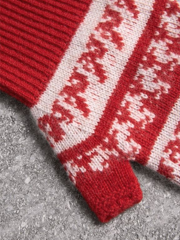 Fair Isle Wool-cashmere Blend Gloves in Military Red | Burberry - cell image 1