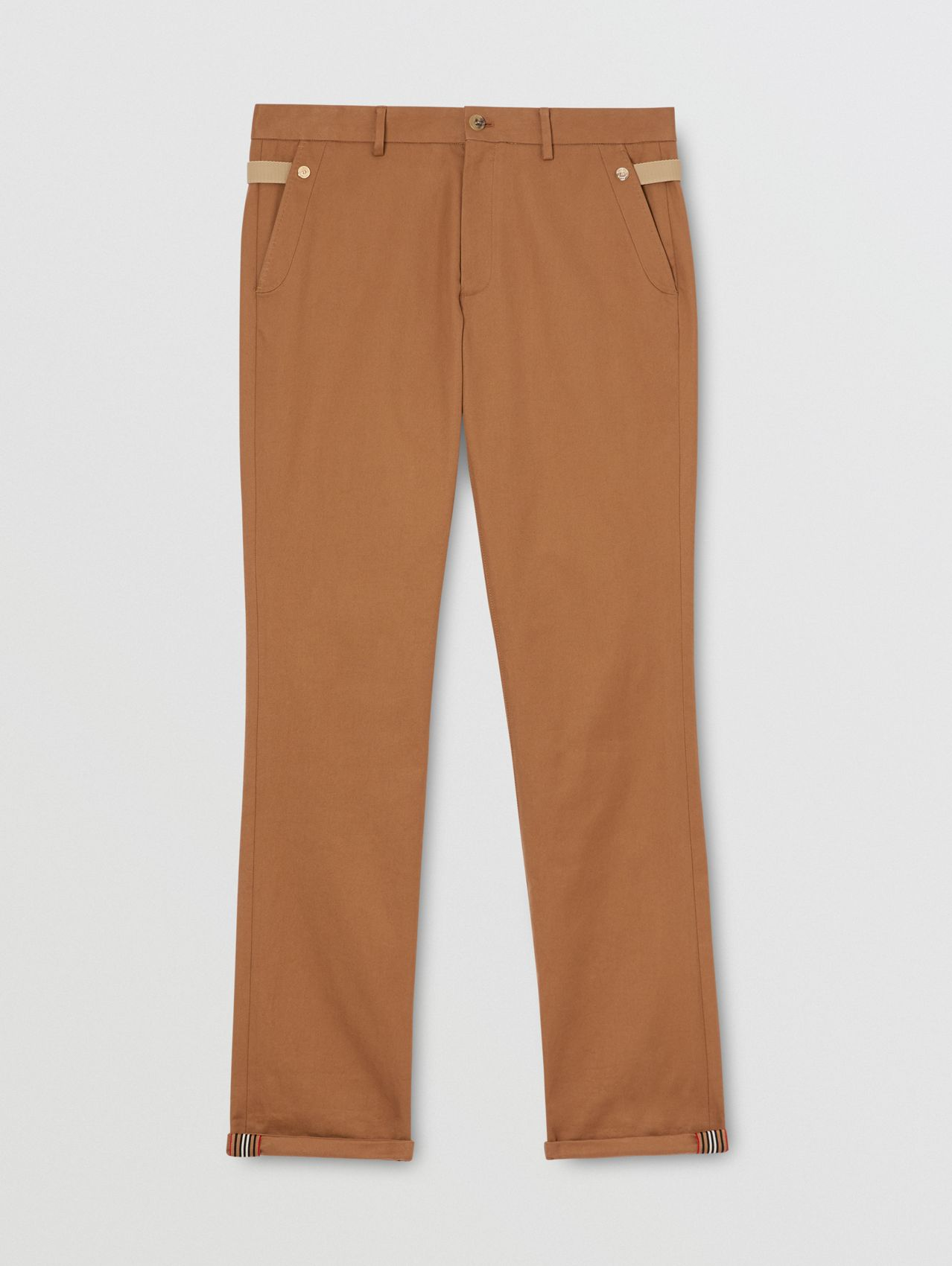Classic Fit Cotton Chinos in Warm Walnut