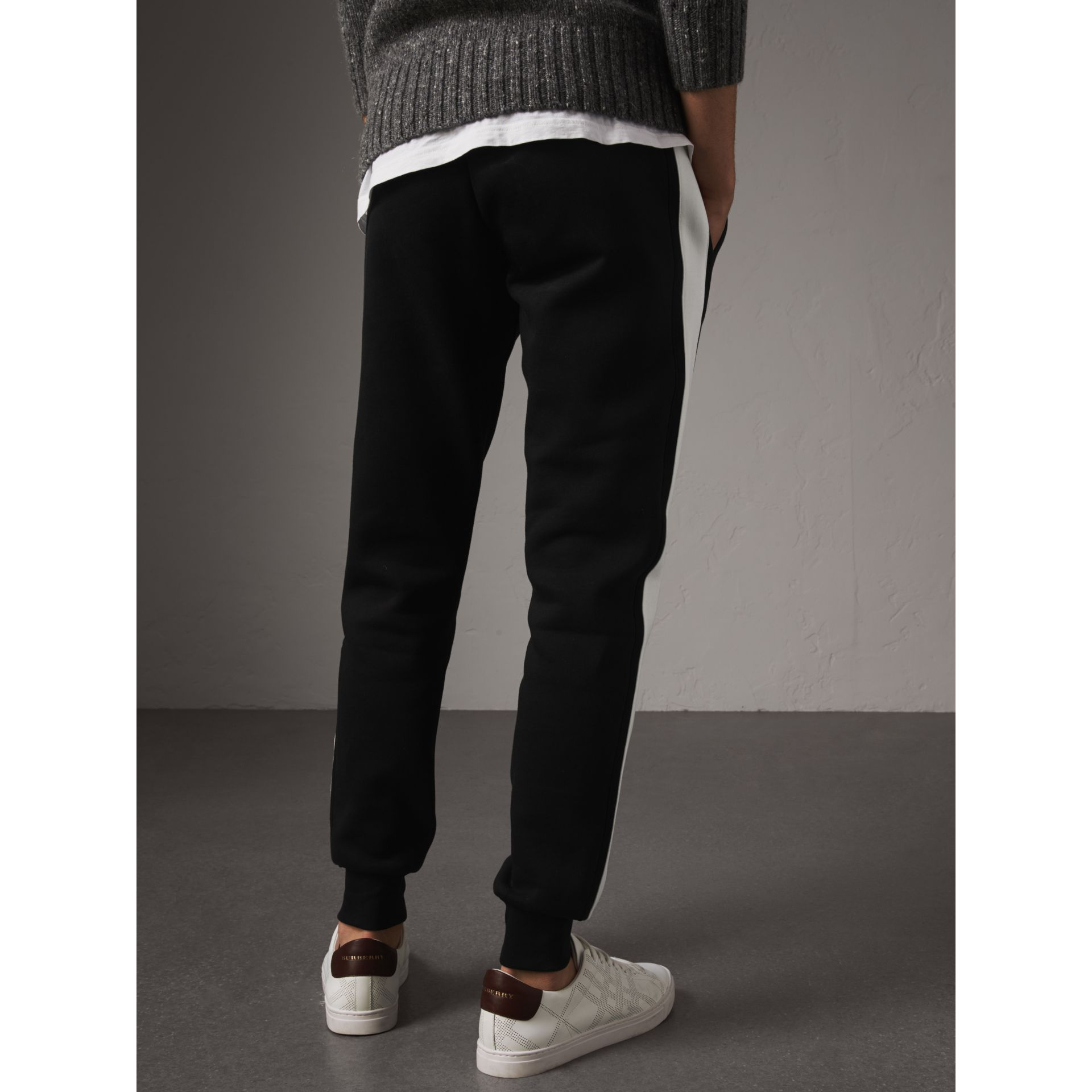 Bold Stripe Detail Cotton Blend Sweatpants in Black - Men | Burberry - gallery image 3