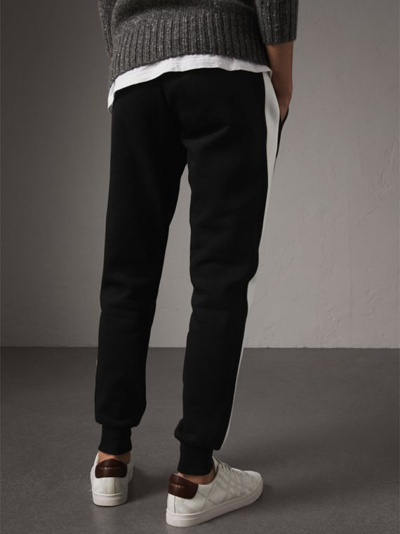 Bold Stripe Detail Cotton Blend Sweatpants in Black - Men | Burberry - cell image 2
