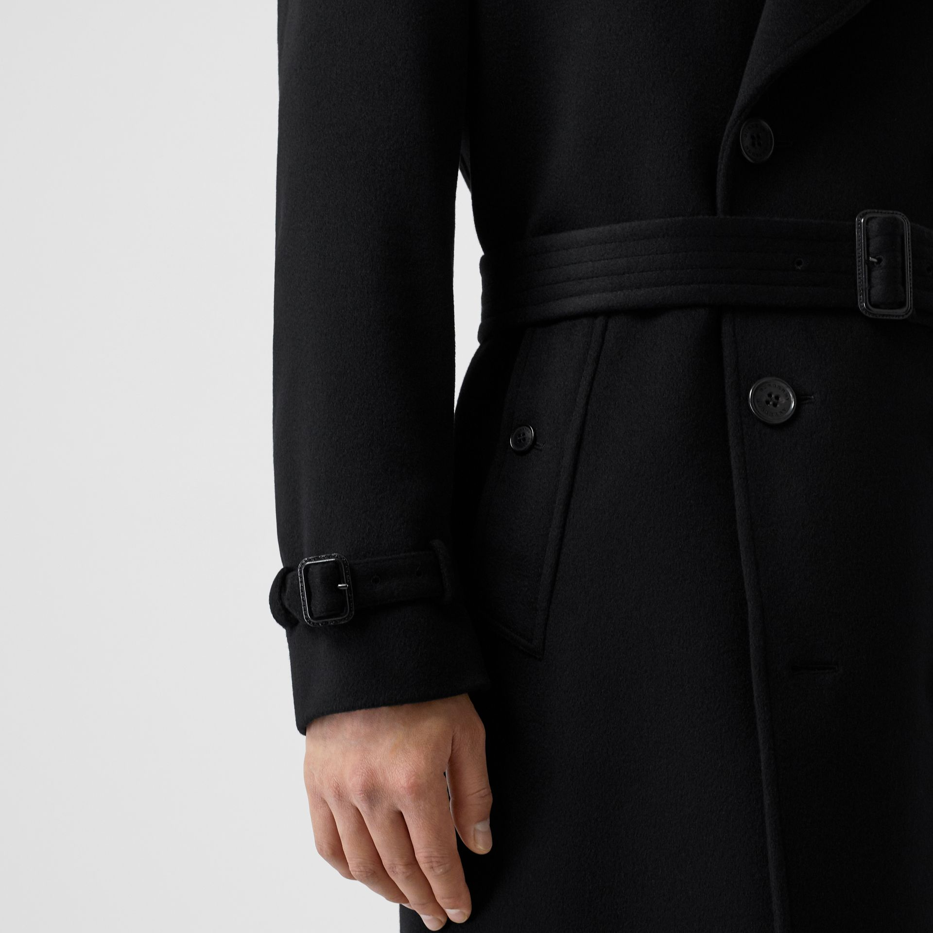 Cashmere Trench Coat in Black - Men | Burberry - gallery image 5