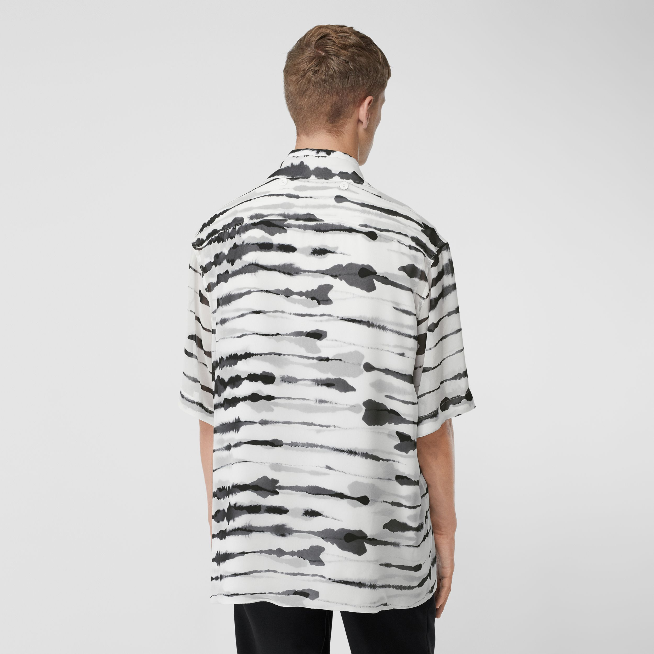Short-sleeve Silk Overlay Watercolour Print Twill Shirt in Monochrome - Men | Burberry - 3