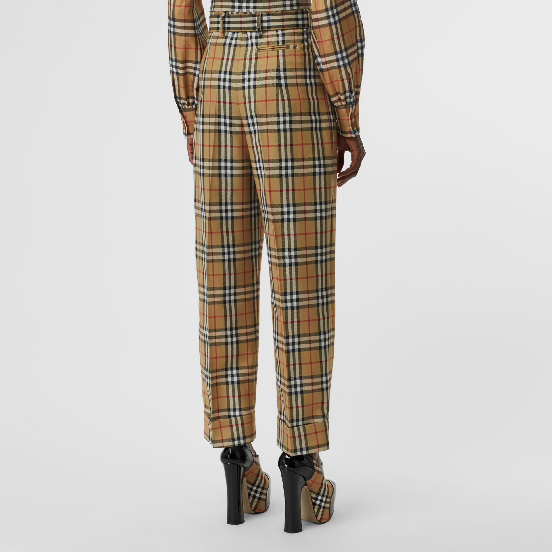 Vintage Check Wool High-waisted Trousers in Antique Yellow - Women | Burberry - gallery image 2