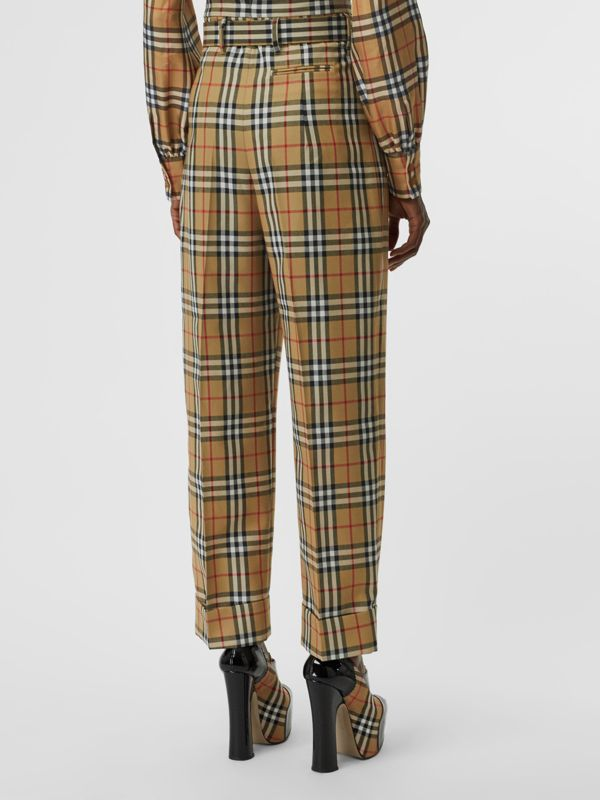Vintage Check Wool High-waisted Trousers in Antique Yellow - Women | Burberry - cell image 2