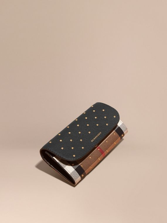 Studded Leather and House Check Continental Wallet Black