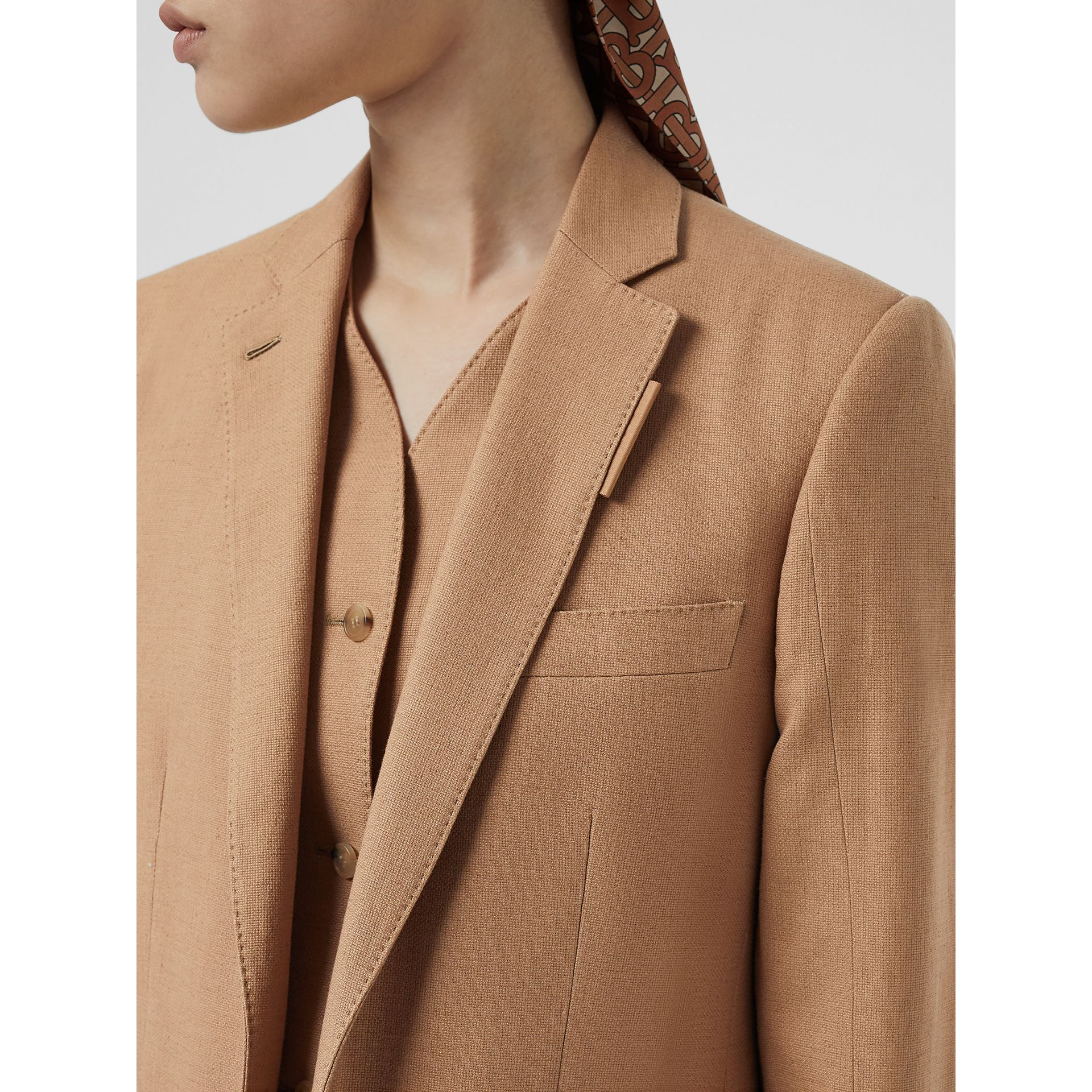 Vest Detail Cotton Linen Tailored Jacket in Ceramic Brown - Women | Burberry - gallery image 1