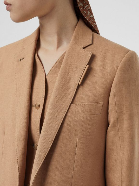 Vest Detail Cotton Linen Tailored Jacket in Ceramic Brown - Women | Burberry - cell image 1