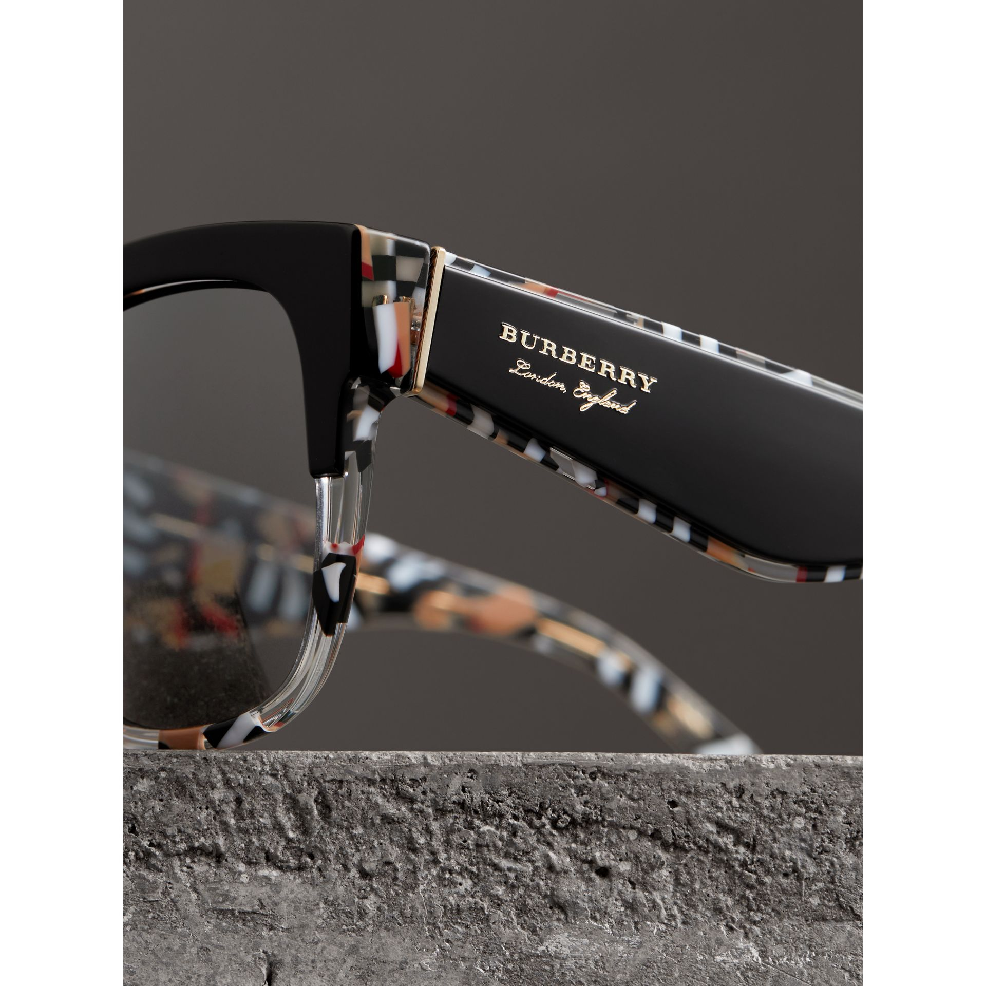 Patchwork Check Oversize Square Frame Sunglasses in Black - Women | Burberry United Kingdom - gallery image 1