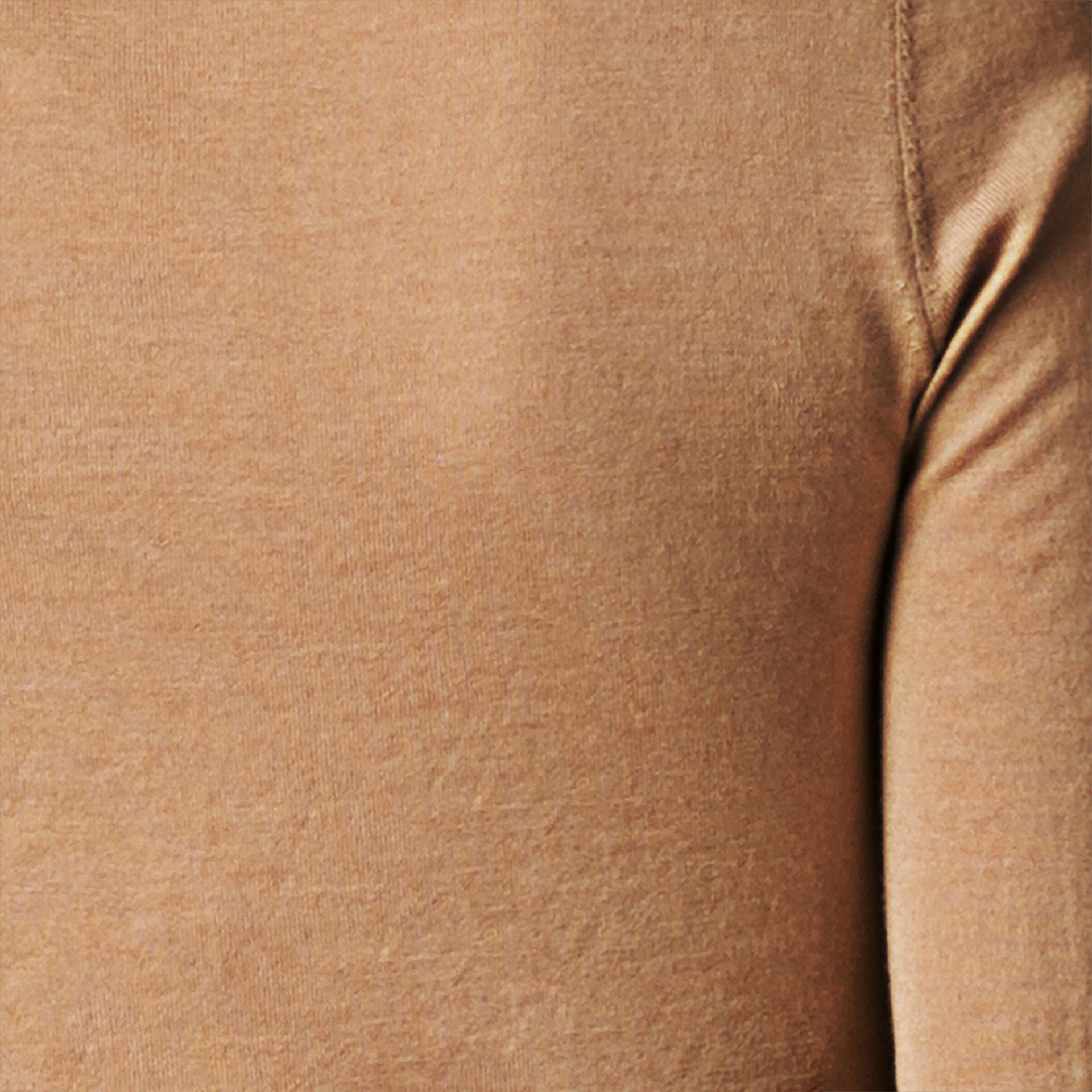 Check Placket Wool Cardigan Camel - gallery image 2