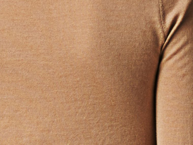 Check Placket Wool Cardigan Camel - cell image 1