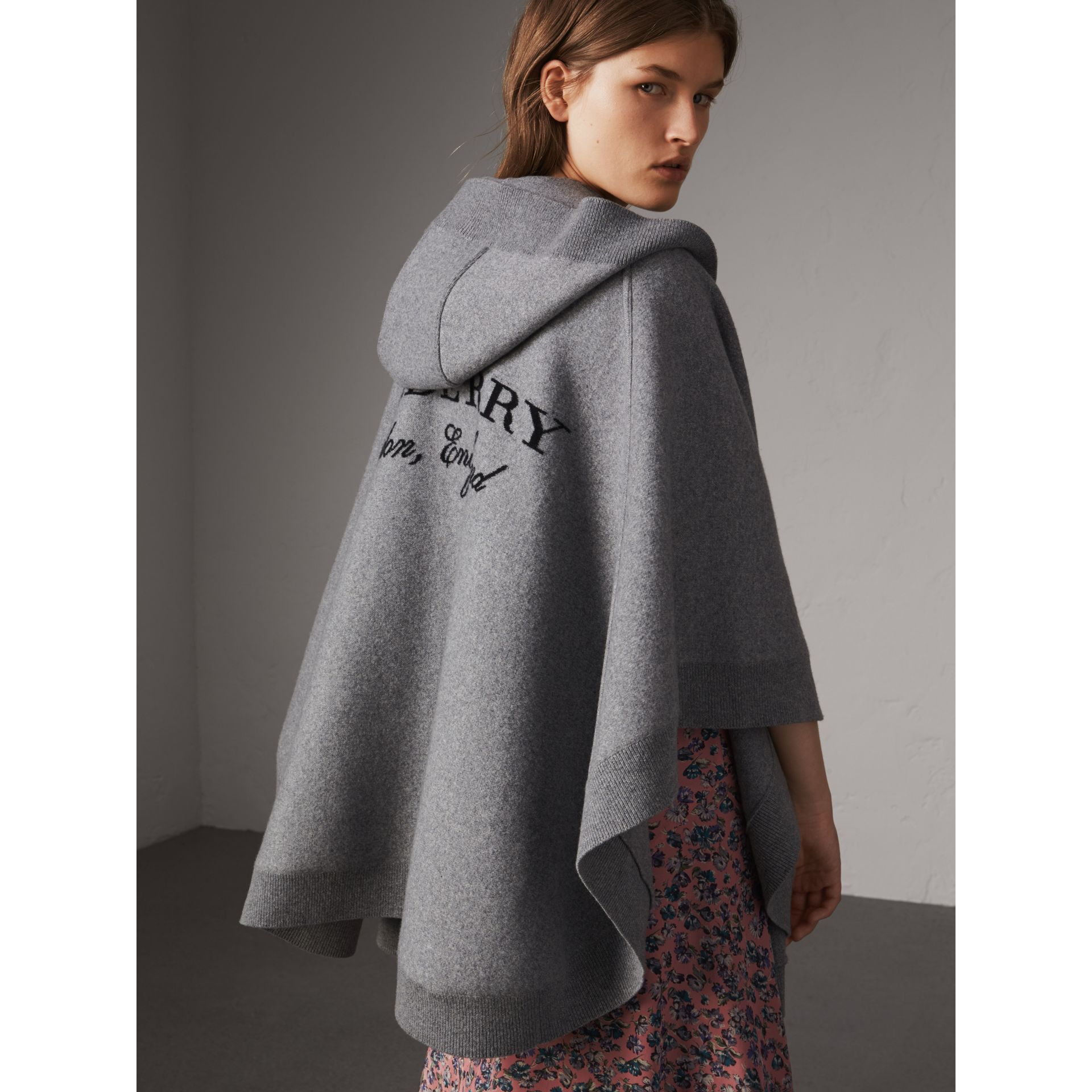 Wool Cashmere Blend Hooded Poncho in Mid Grey Melange - Women | Burberry Australia - gallery image 1