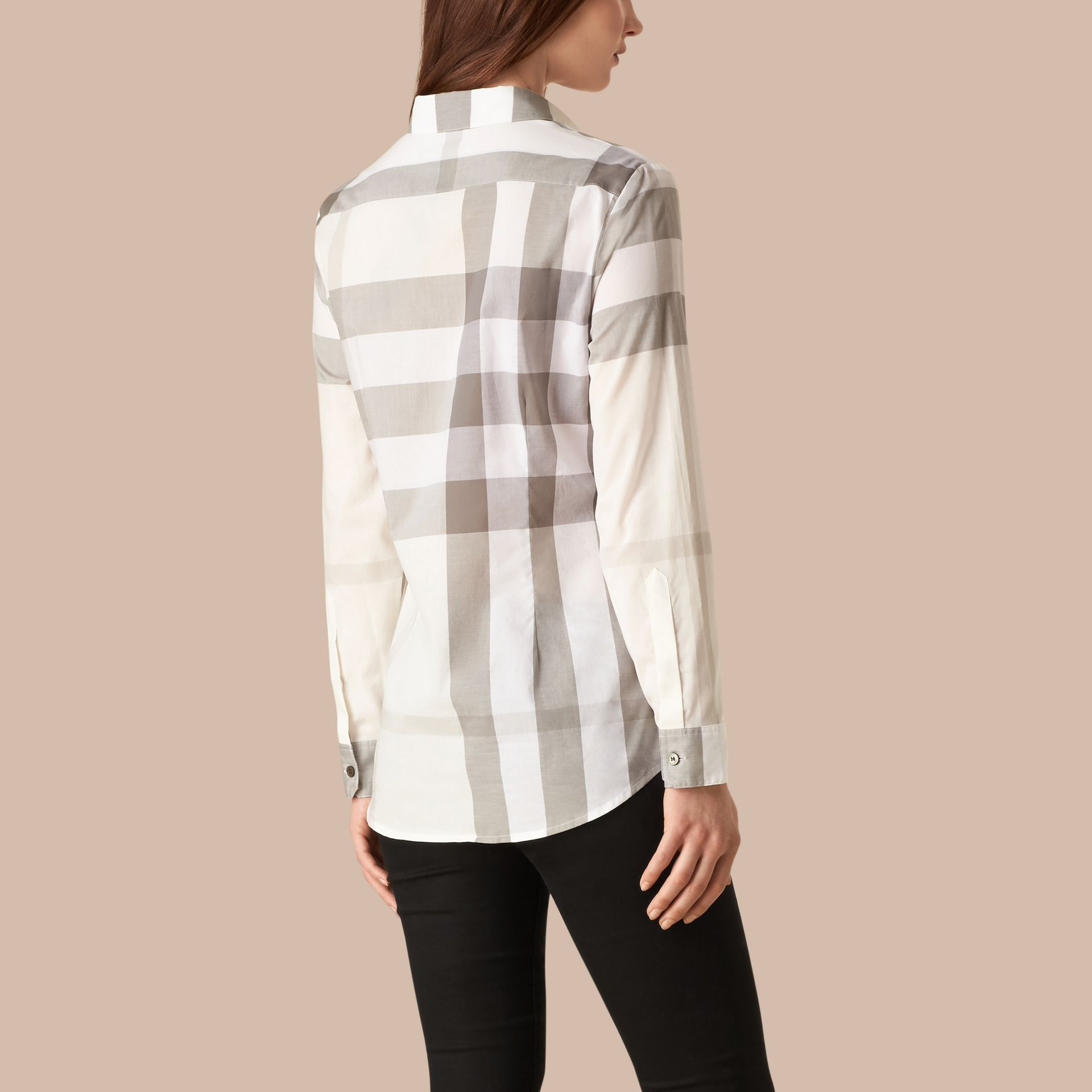 Natural Check Cotton Shirt Natural - gallery image 2