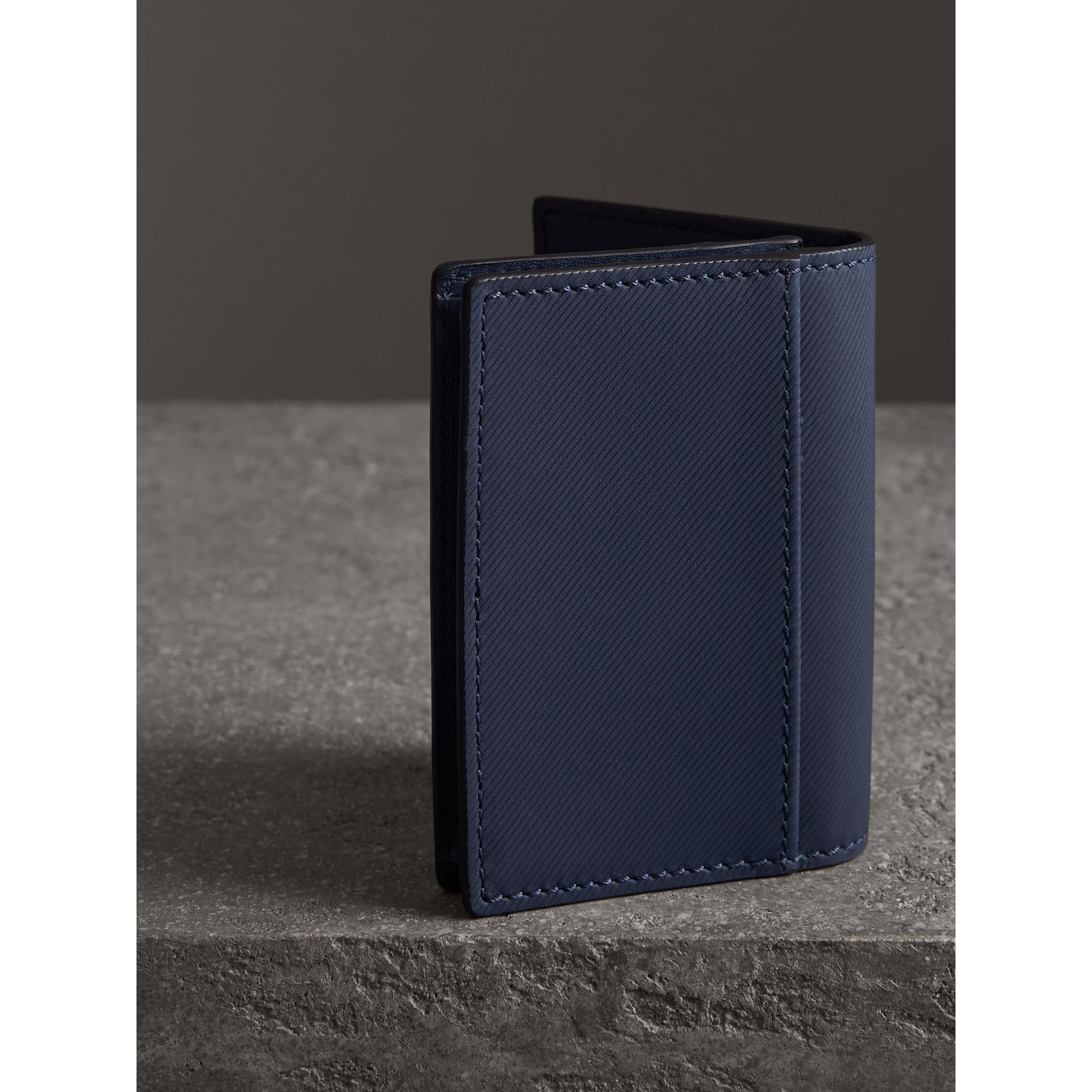 Trench Leather Folding Card Case in Ink Blue | Burberry - gallery image 2