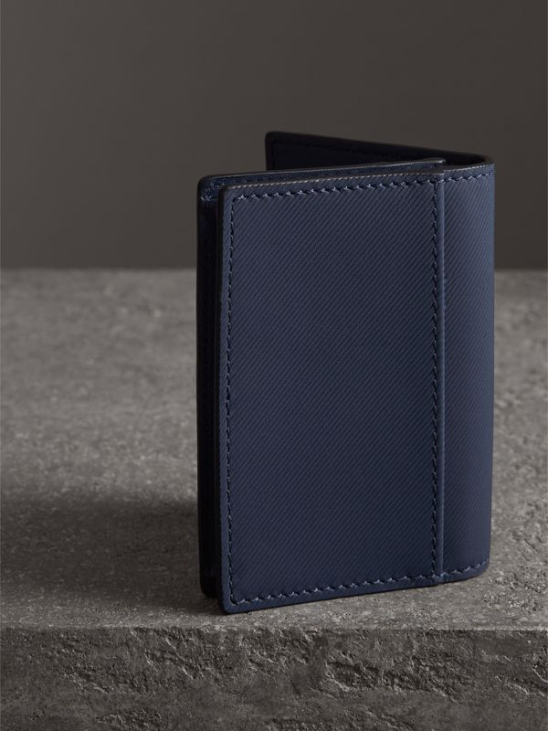Trench Leather Folding Card Case in Ink Blue | Burberry - cell image 2