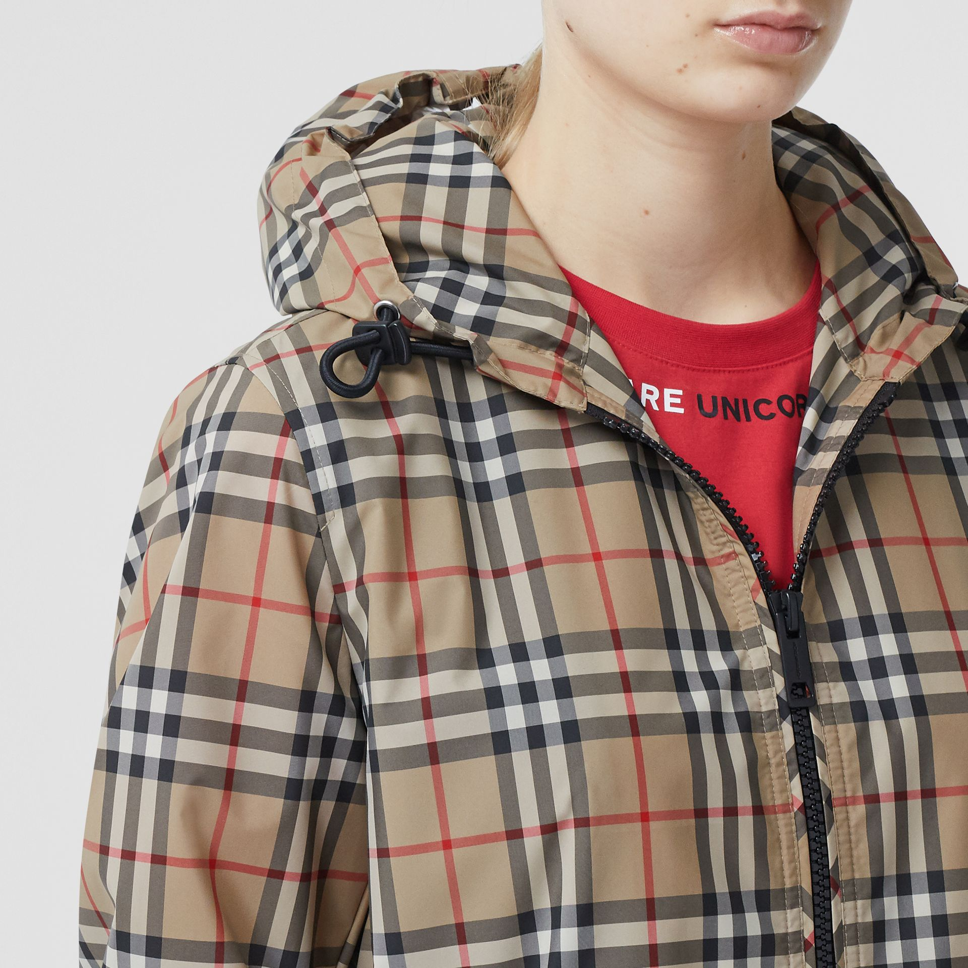 Vintage Check Recycled Polyester Hooded Jacket in Archive Beige - Women | Burberry Hong Kong S.A.R - gallery image 1