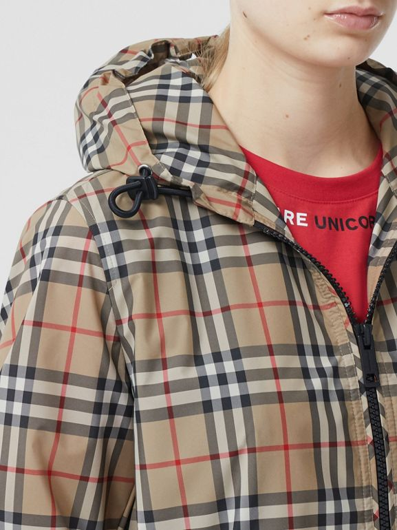 Vintage Check Recycled Polyester Hooded Jacket in Archive Beige - Women | Burberry - cell image 1