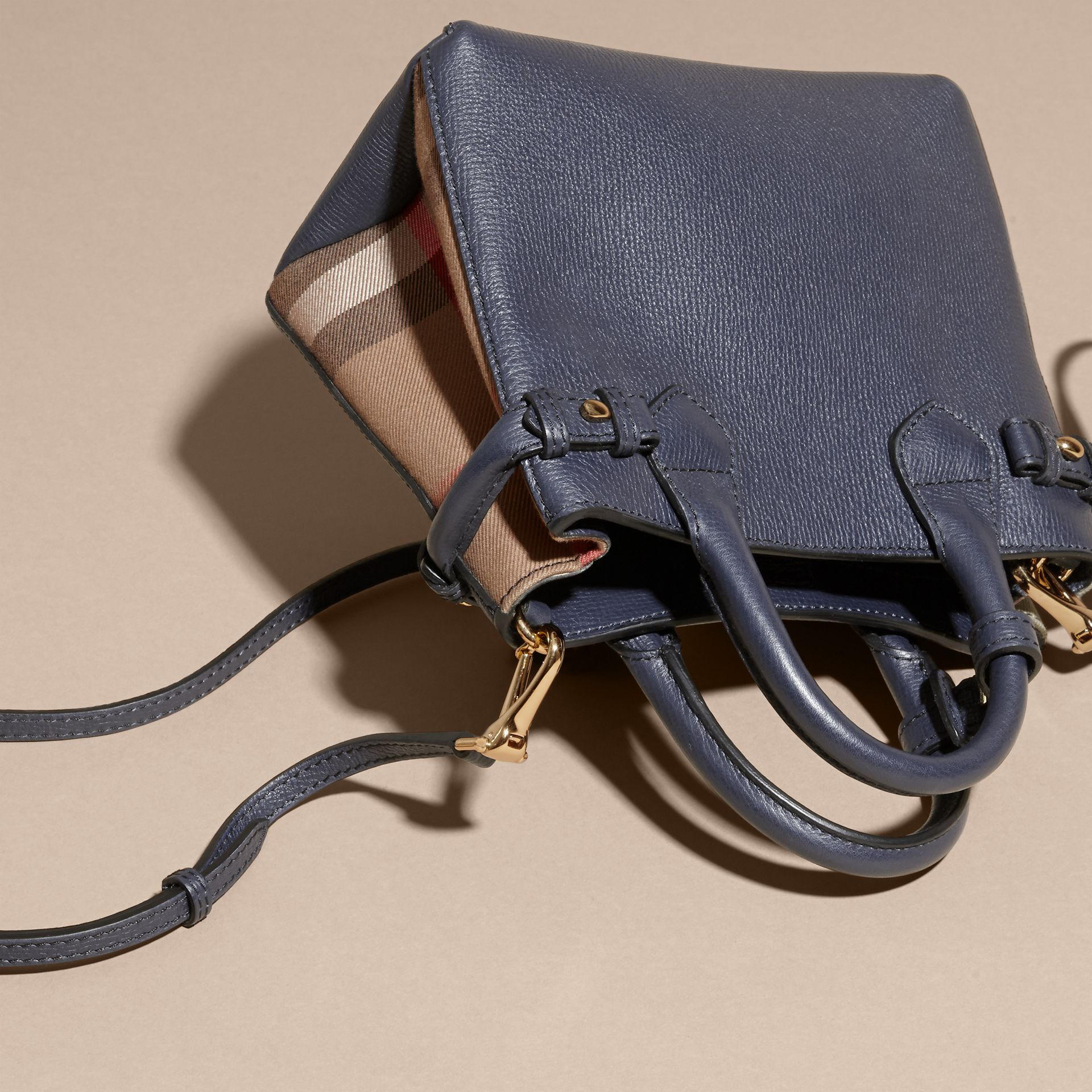 The Baby Banner in Leather and House Check in Ink Blue - Women | Burberry Australia - gallery image 4