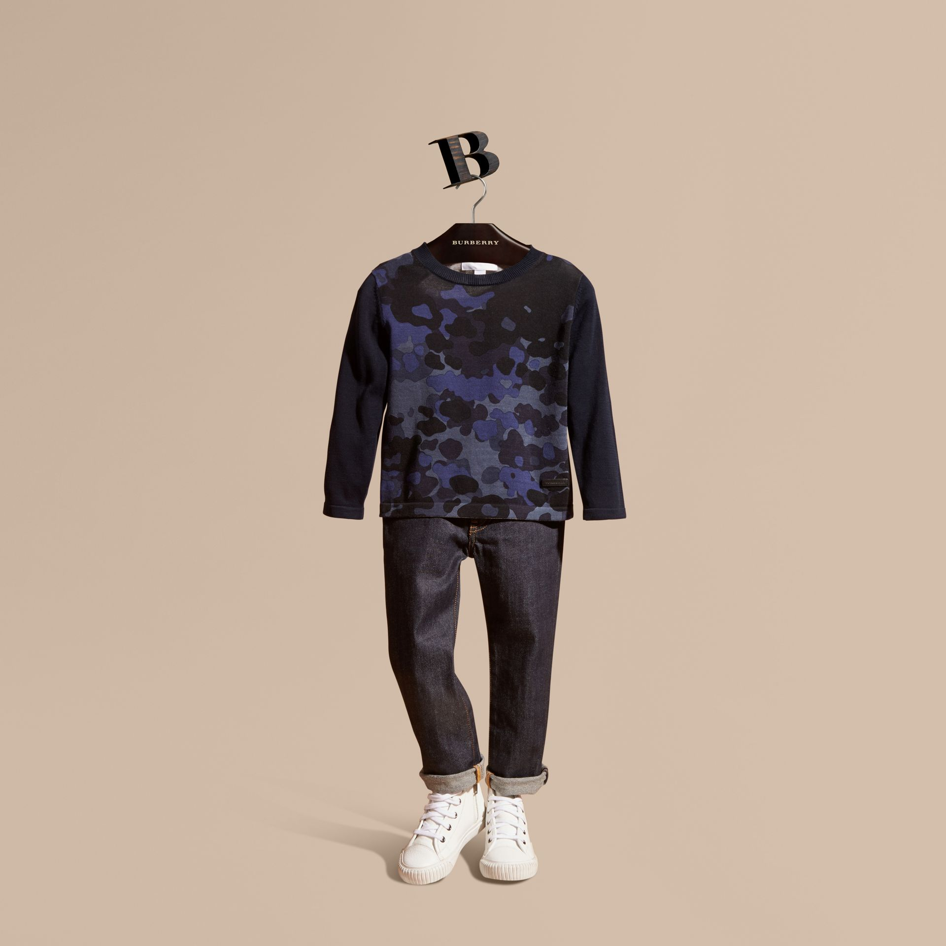 Navy Camouflage Print Cotton Crew Neck Sweater - gallery image 1