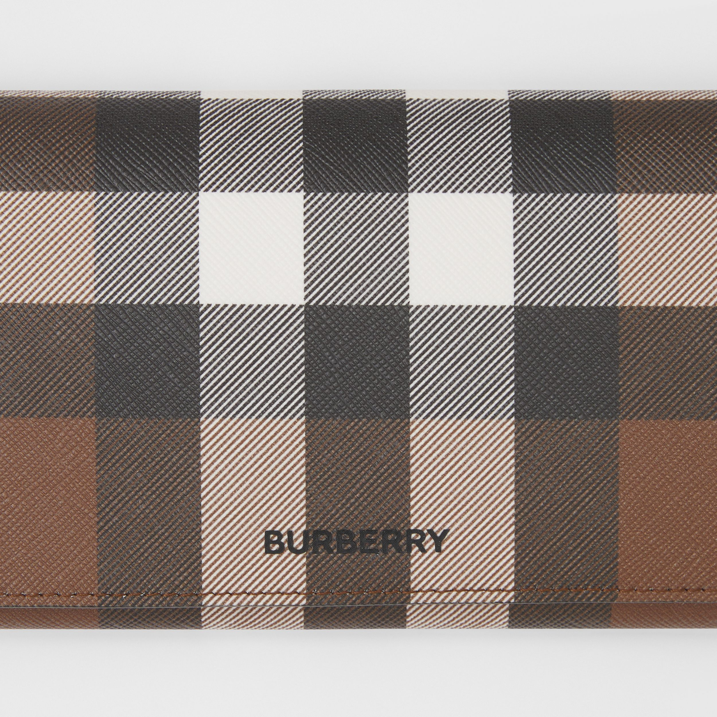 Check E-canvas Wallet with Detachable Strap in Dark Birch Brown | Burberry - 2
