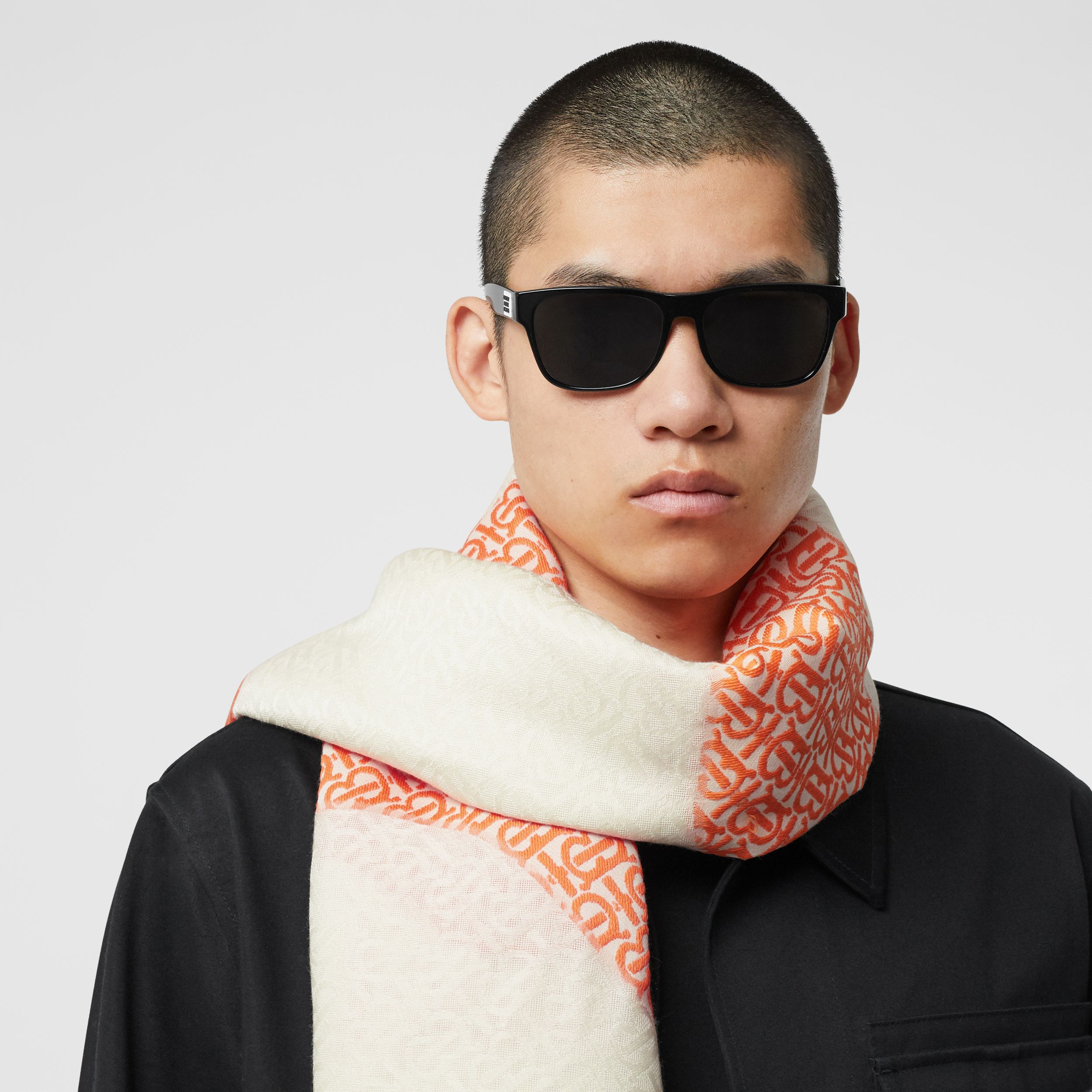 Monogram Fil Coupé Silk Blend Large Square Scarf in Orange | Burberry - 4