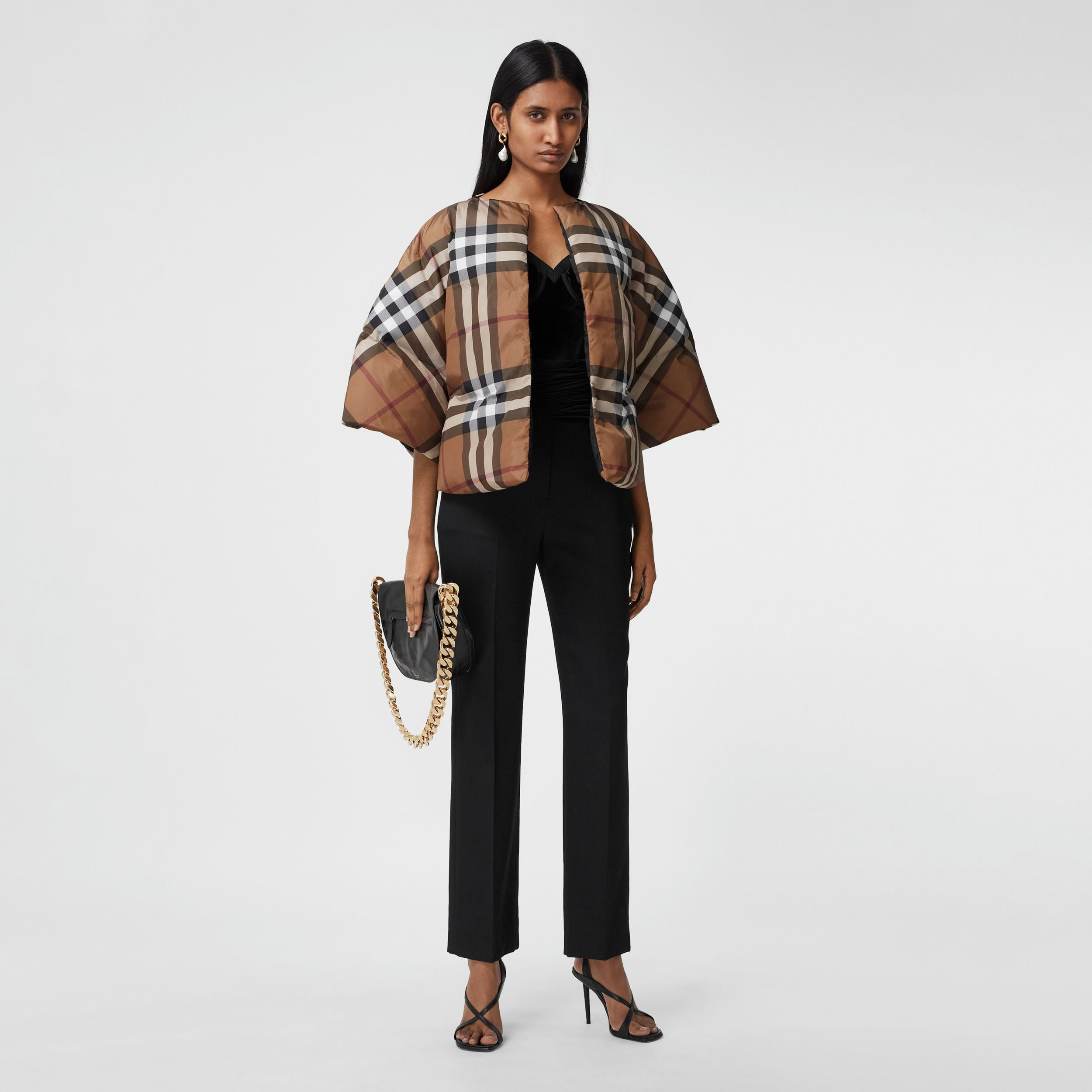 Check Print ECONYL® Cape in Birch Brown - Women | Burberry - 1
