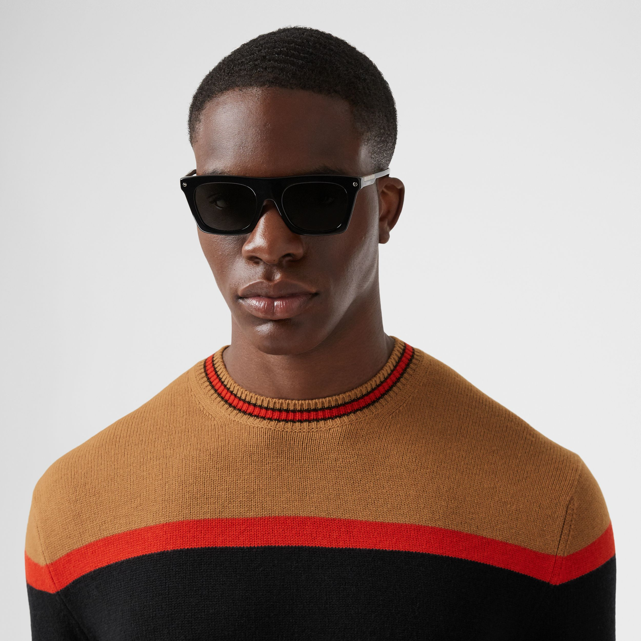 Striped Wool Cashmere Sweater in Black - Men | Burberry - 2