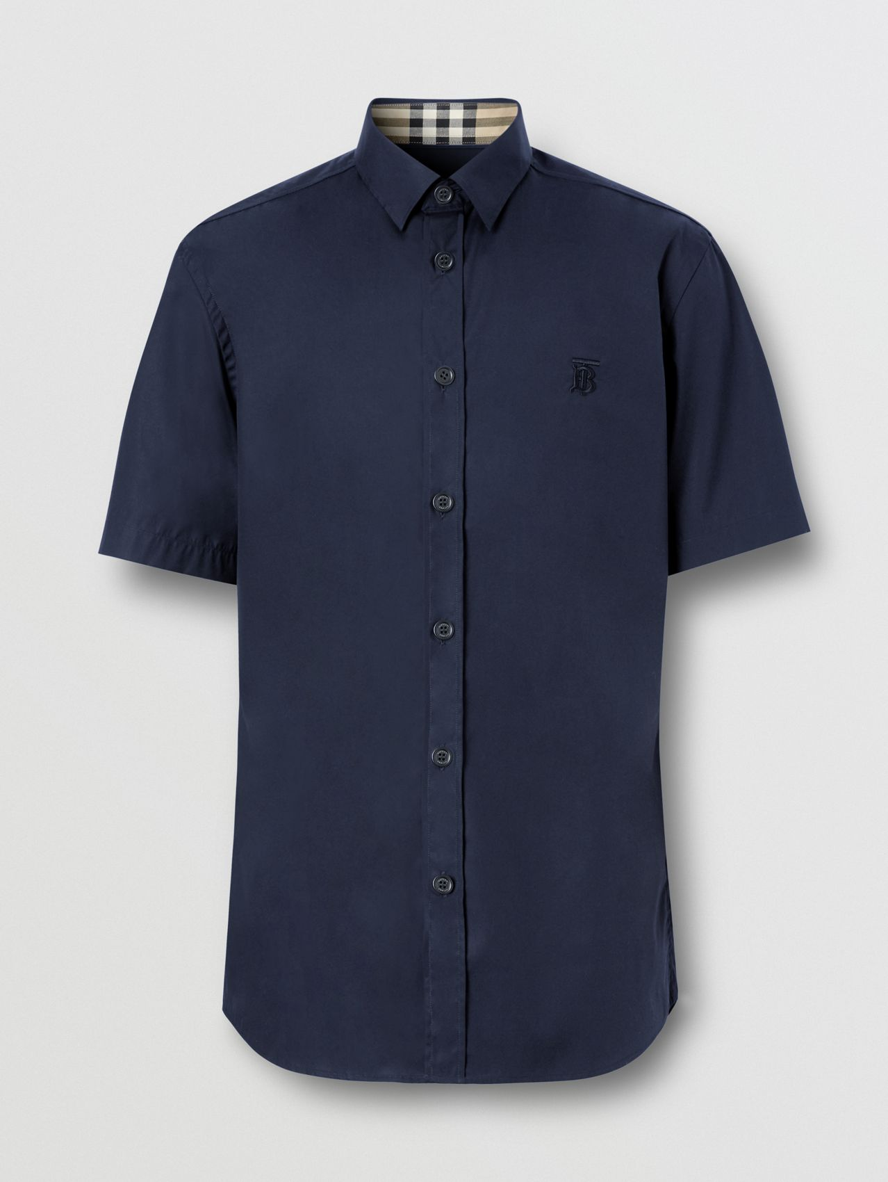Short-sleeve Monogram Motif Stretch Cotton Shirt in Navy