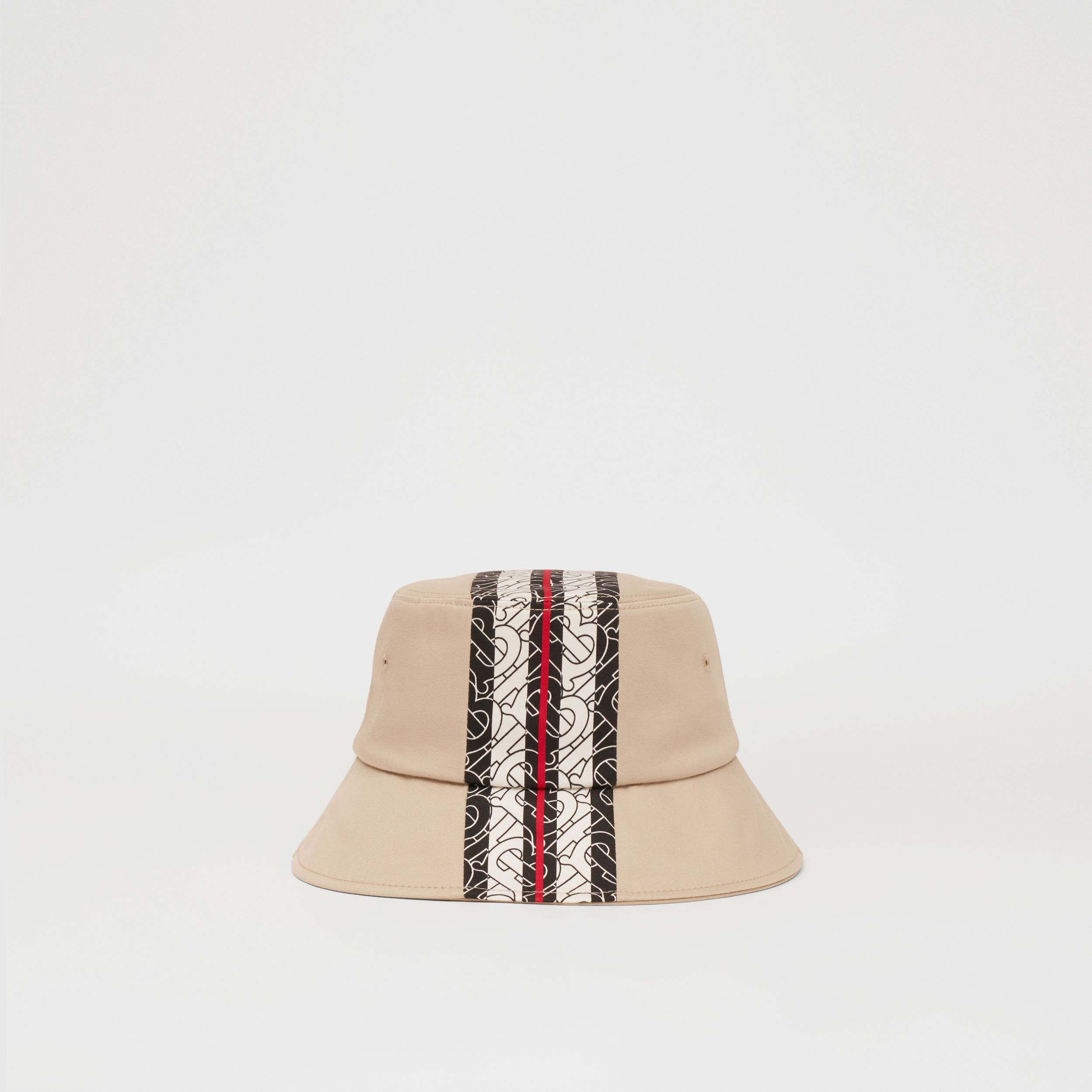 Monogram Stripe Print Cotton Bucket Hat in Stone - Children | Burberry - 1