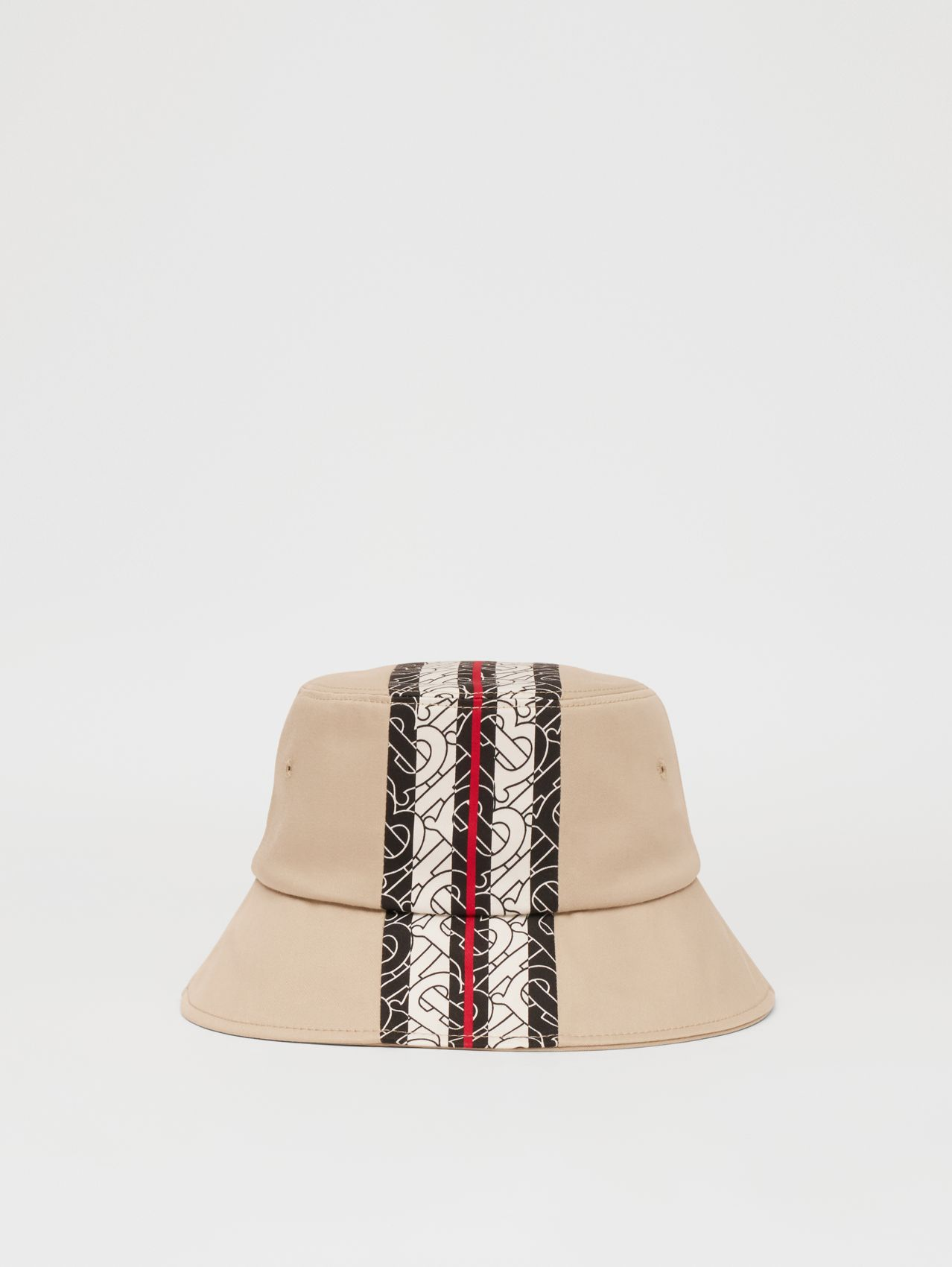 Monogram Stripe Print Cotton Bucket Hat in Stone
