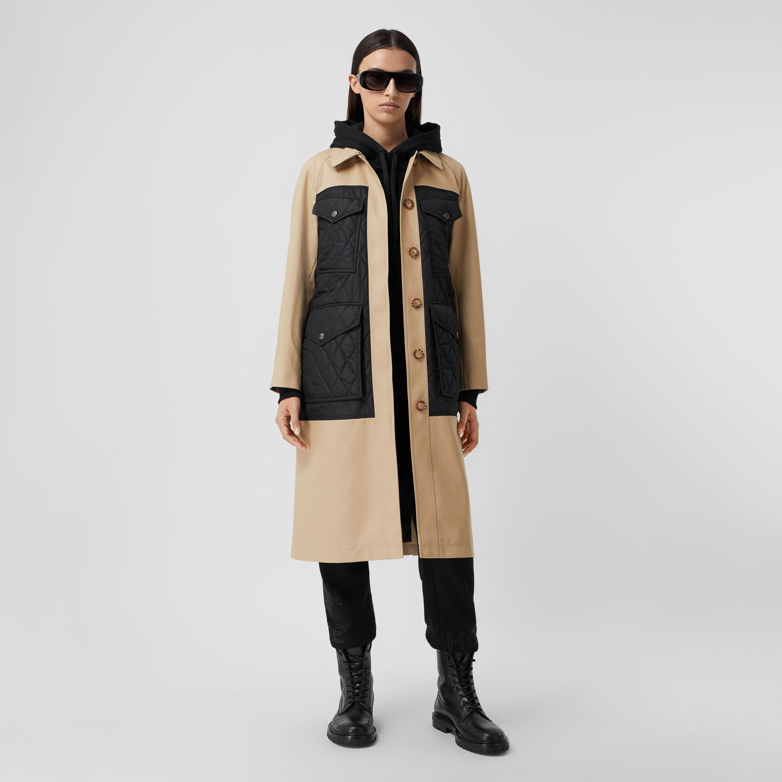 Diamond Quilted Panel Cotton Gabardine Car Coat in Honey - Women | Burberry - 1