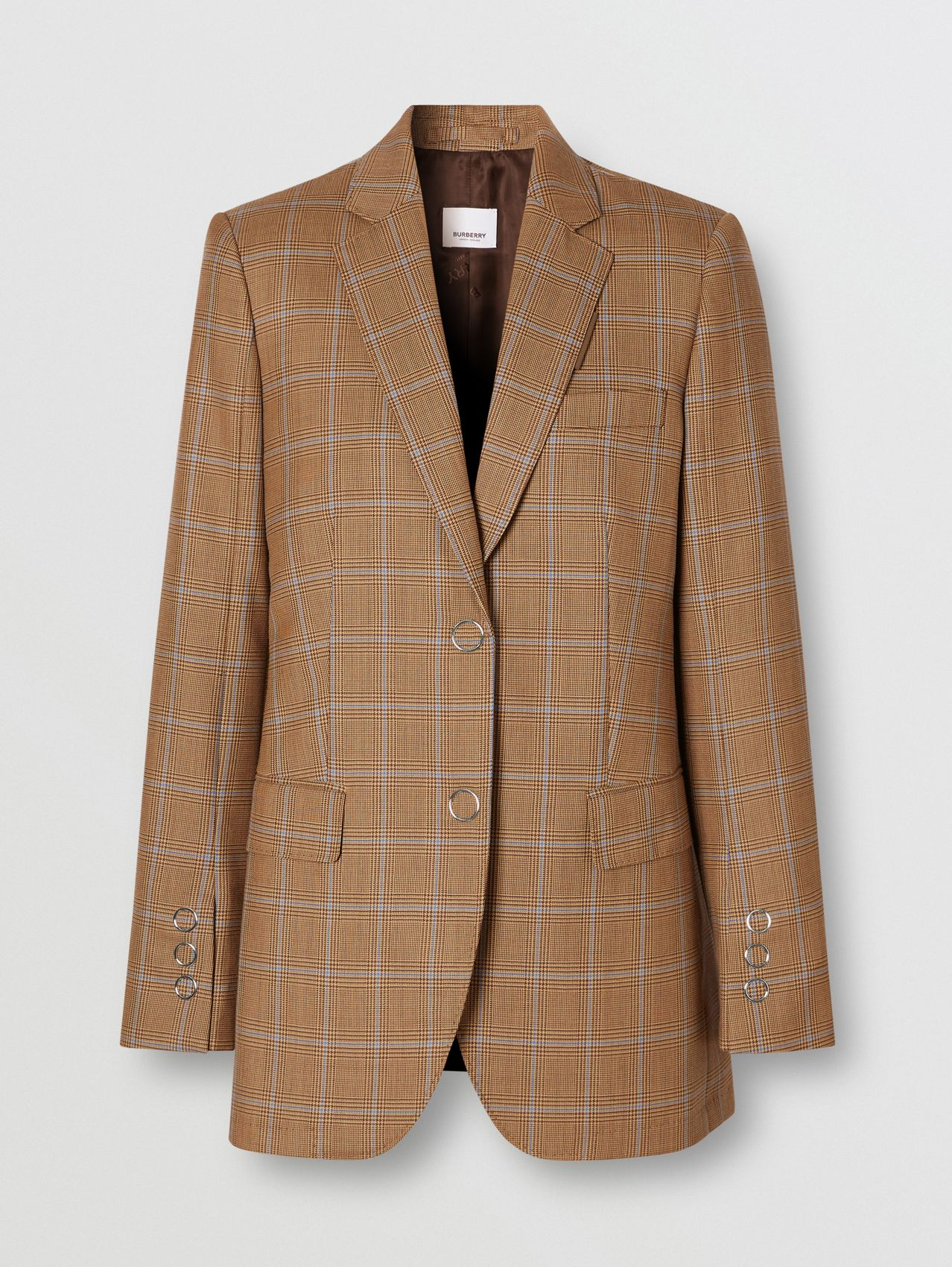 Prince of Wales Check Wool Tailored Jacket in Birch Brown