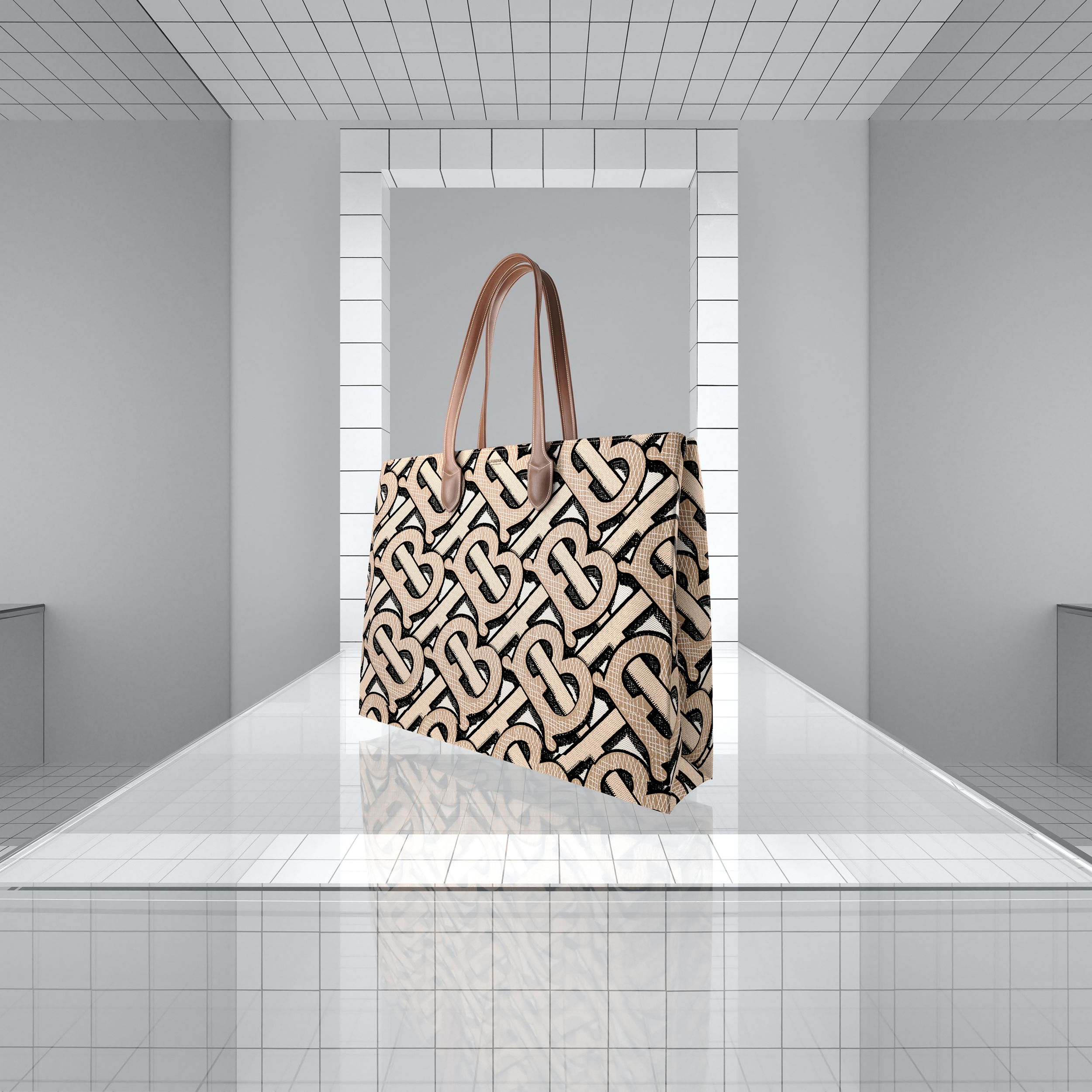 Monogram Print E-canvas Tote Bag in Dark Beige | Burberry - 2