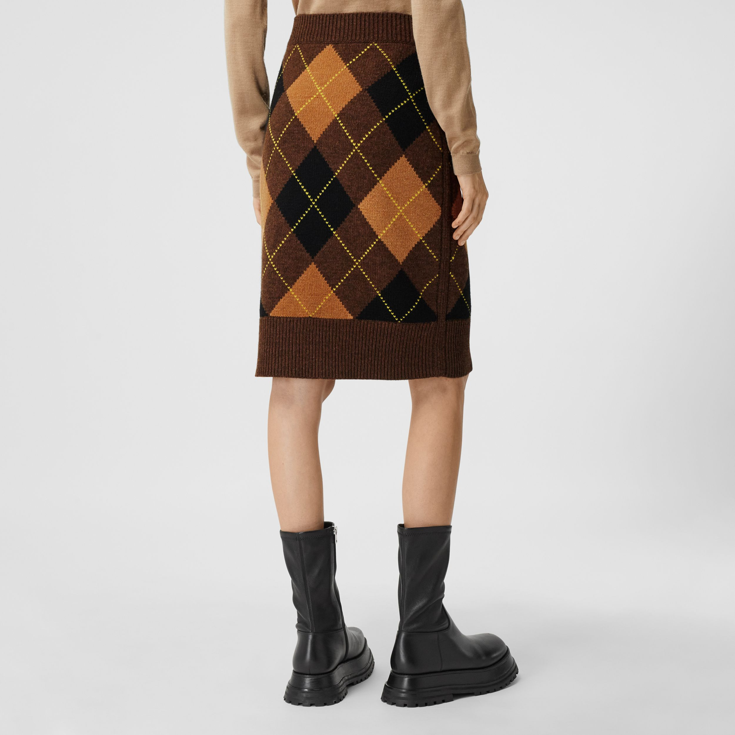 Argyle Intarsia Wool Cashmere Pencil Skirt in Dark Khaki - Women | Burberry - 3