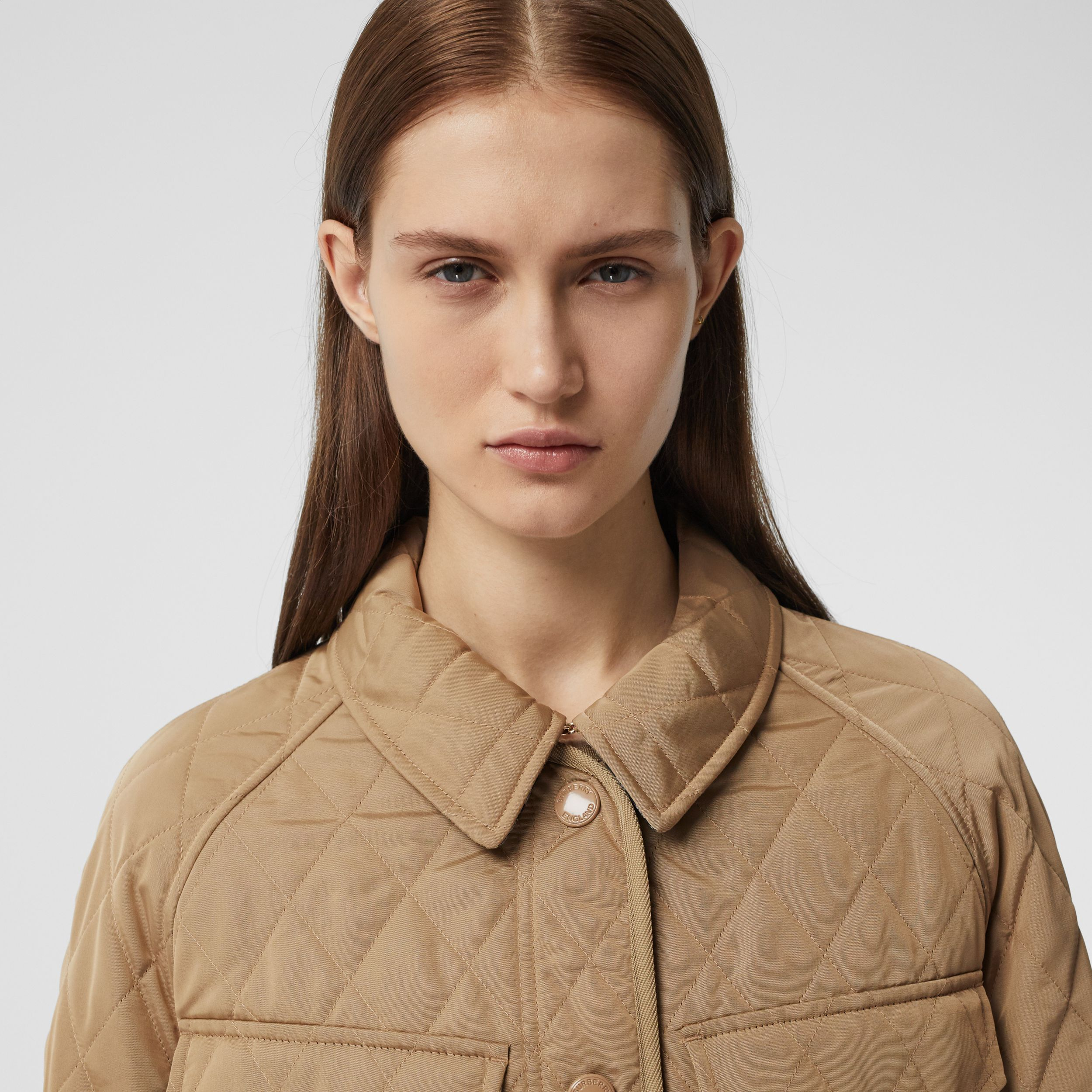 Diamond Quilted Nylon Canvas Field Jacket in Archive Beige - Women | Burberry - 2