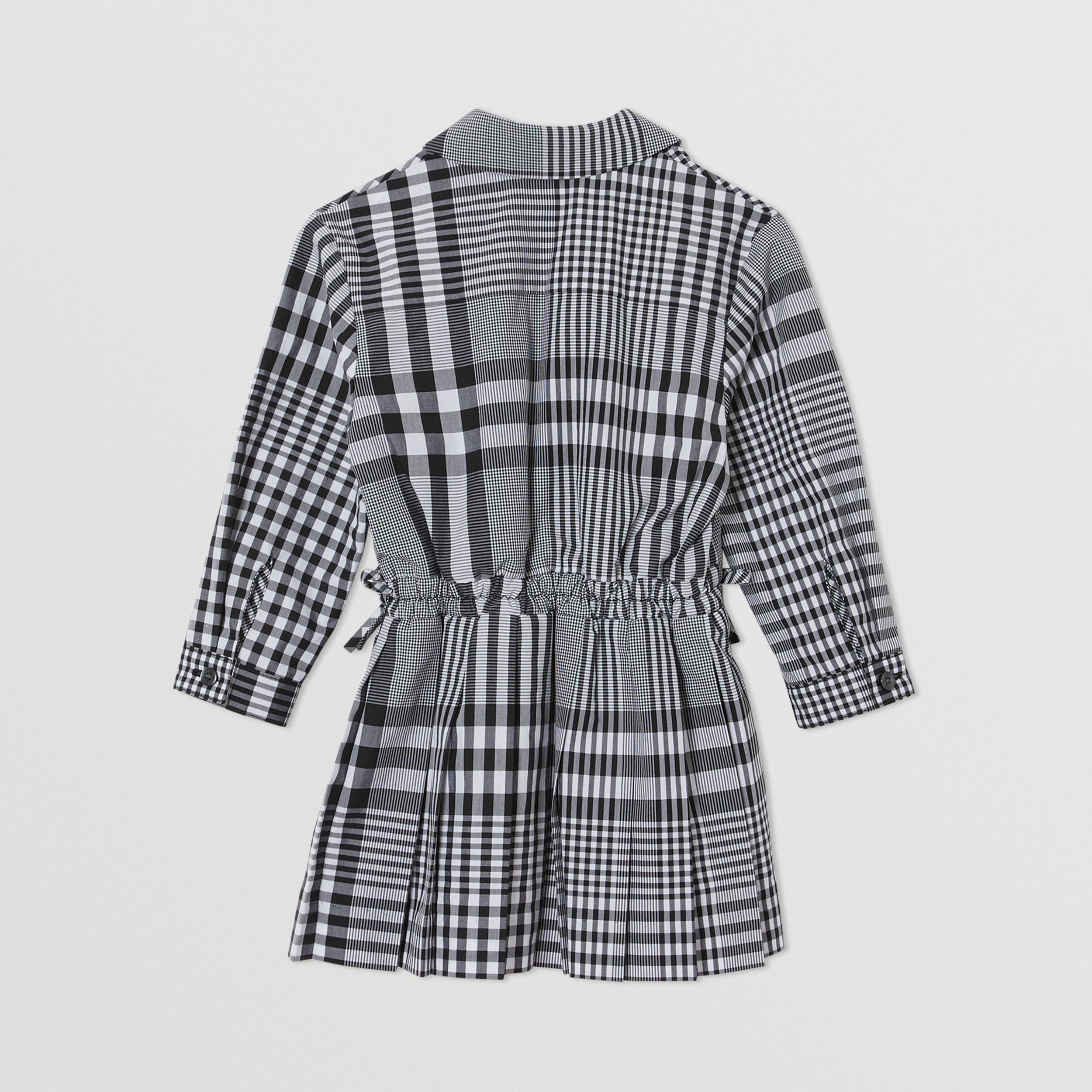 Long-sleeve Monogram Motif Check Cotton Dress in Black - Children | Burberry - 4
