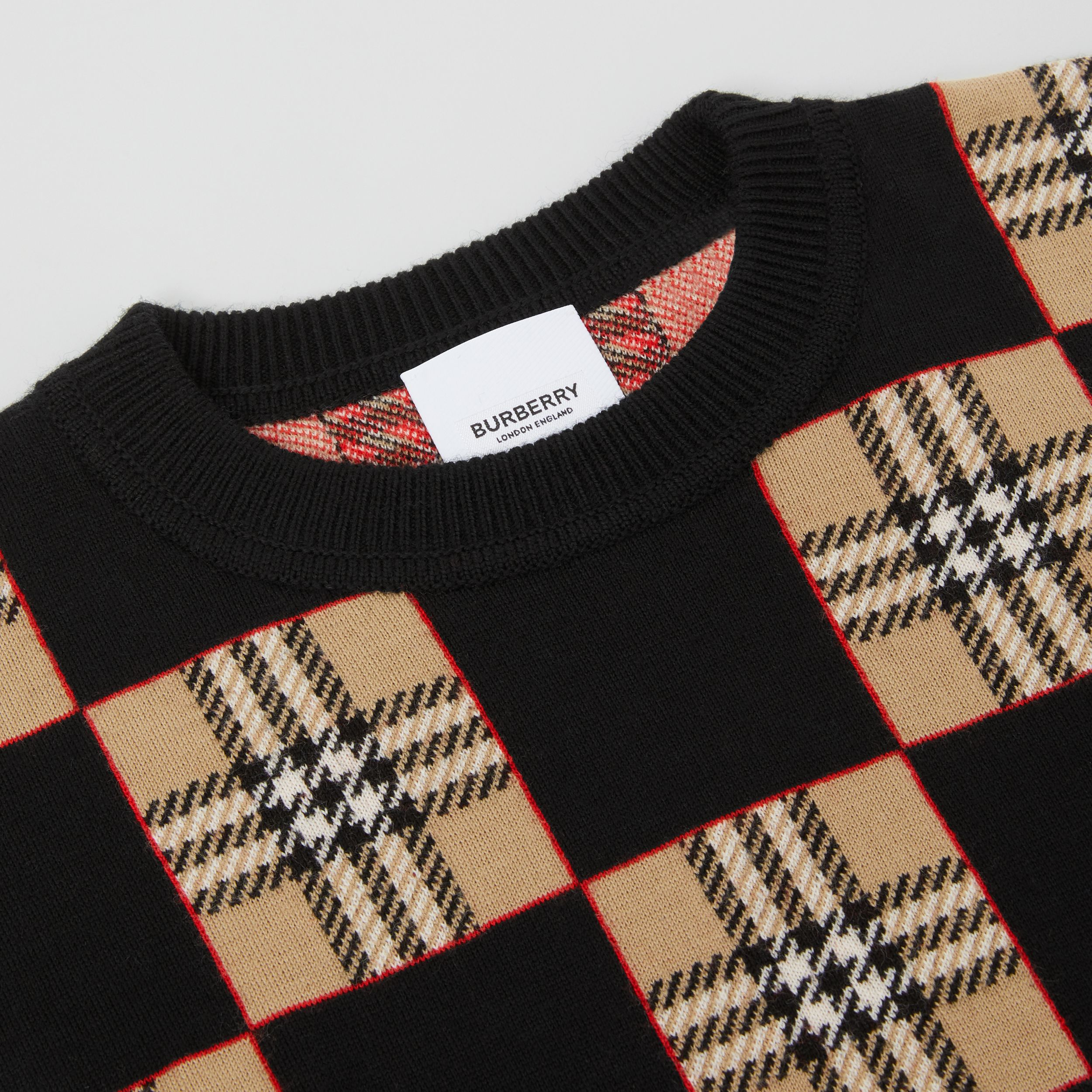 Chequer Merino Wool Jacquard Sweater in Archive Beige | Burberry - 2