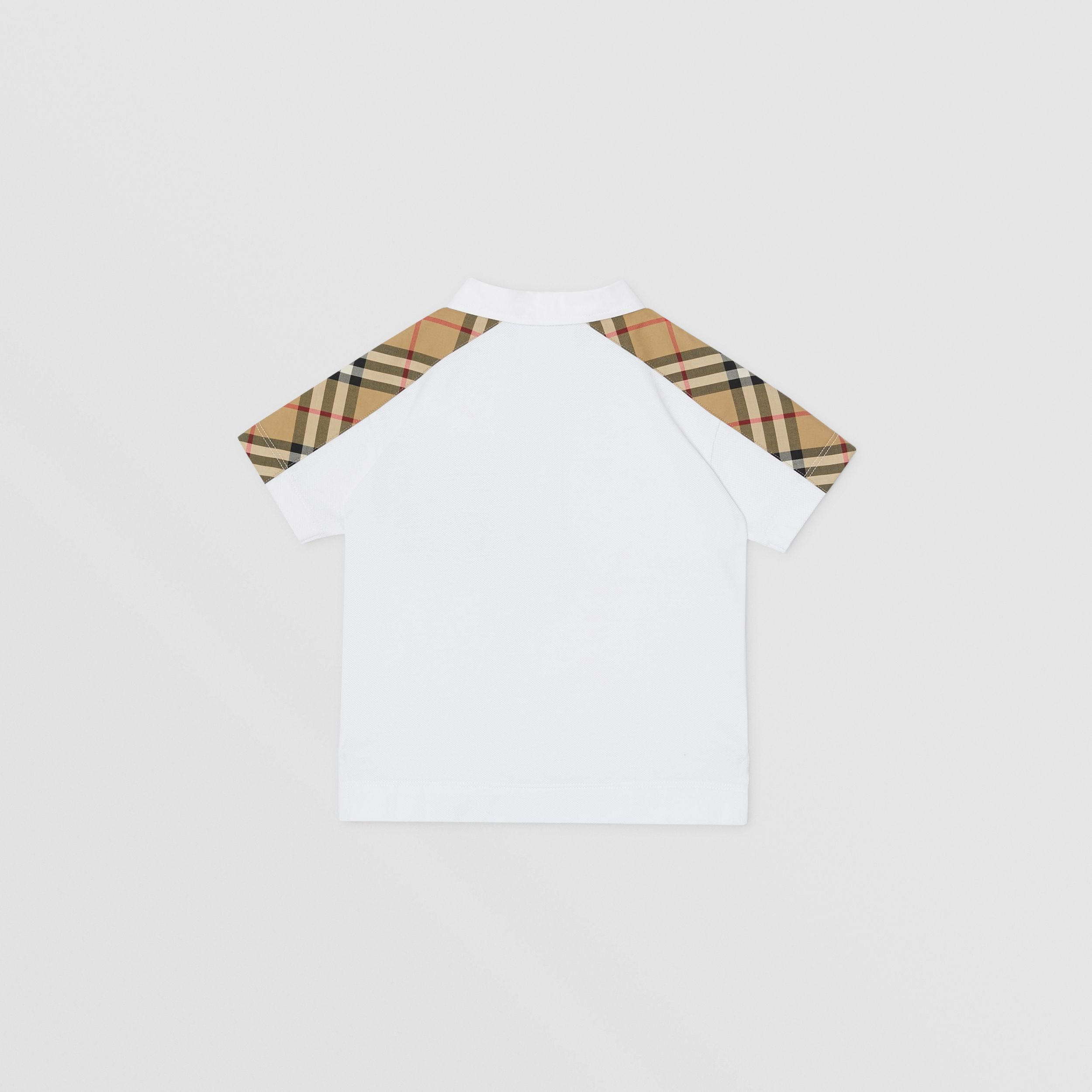 Vintage Check Panel Cotton Piqué Polo Shirt in White - Children | Burberry - 4