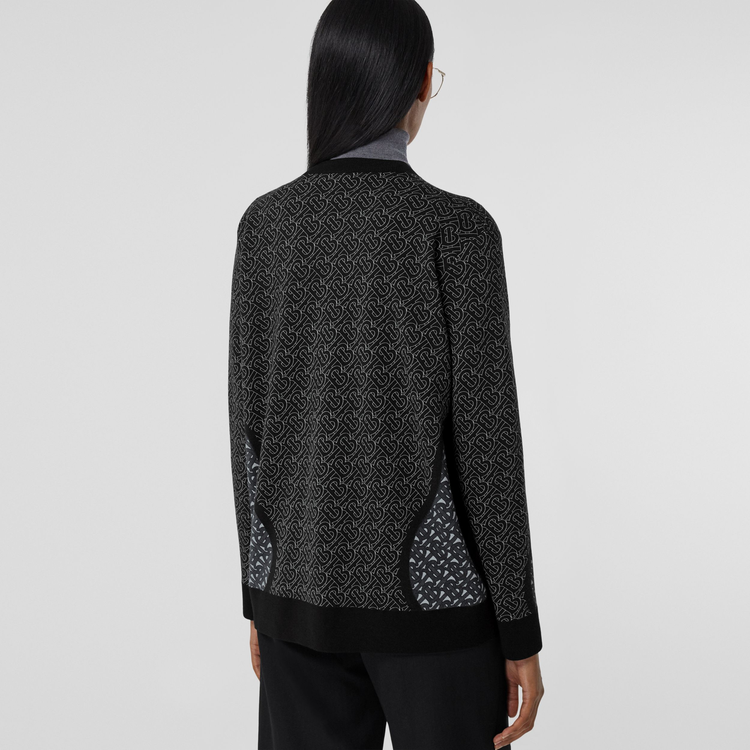 Unicorn Print Technical Merino Wool Cardigan in Black - Women | Burberry - 3