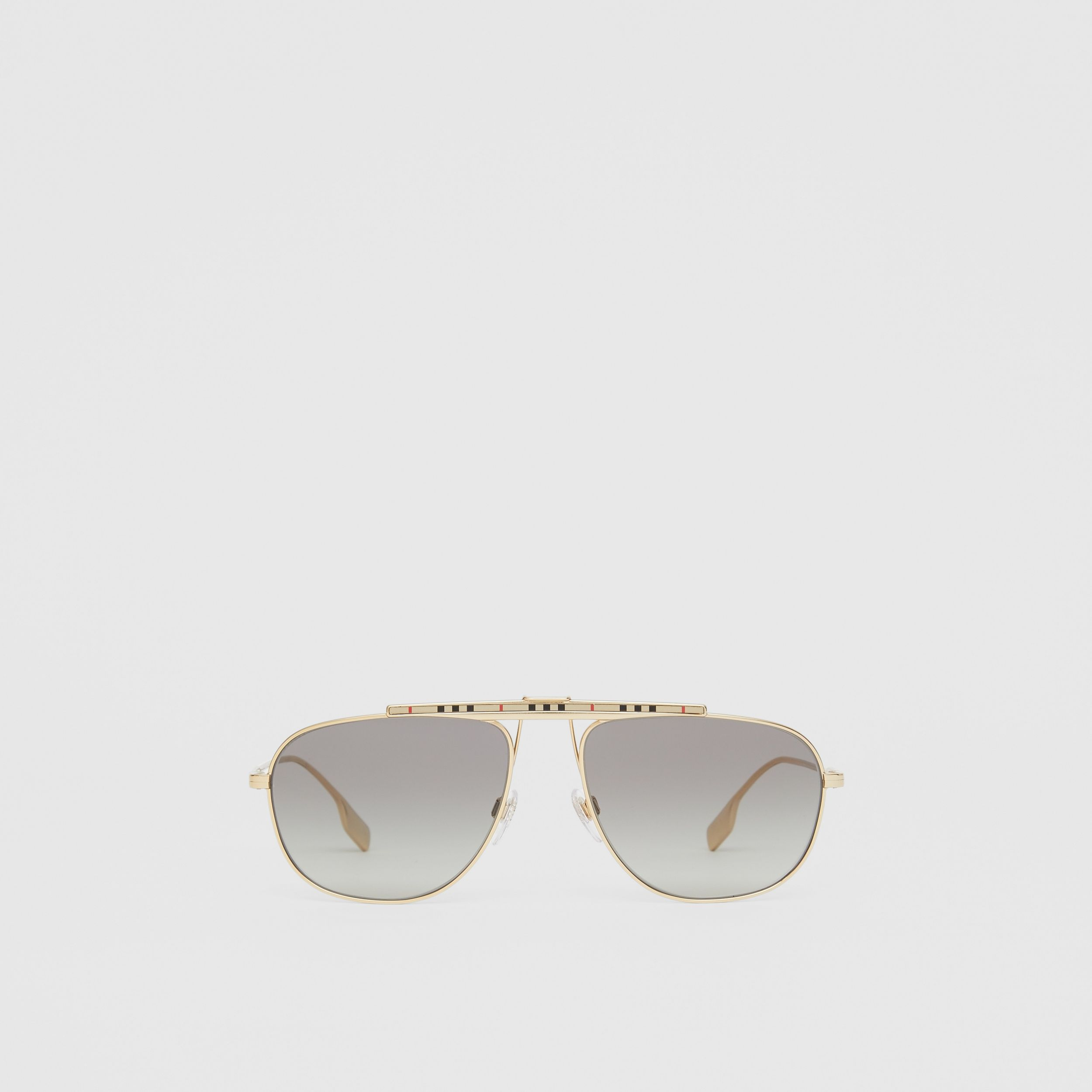 Icon Stripe Detail Pilot Sunglasses in Gold - Men | Burberry - 1