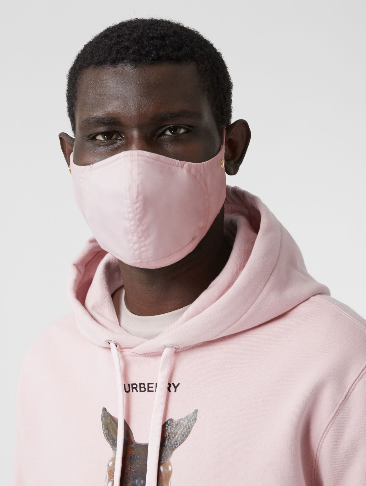 Logo Detail Cotton Face Mask in Alabaster Pink