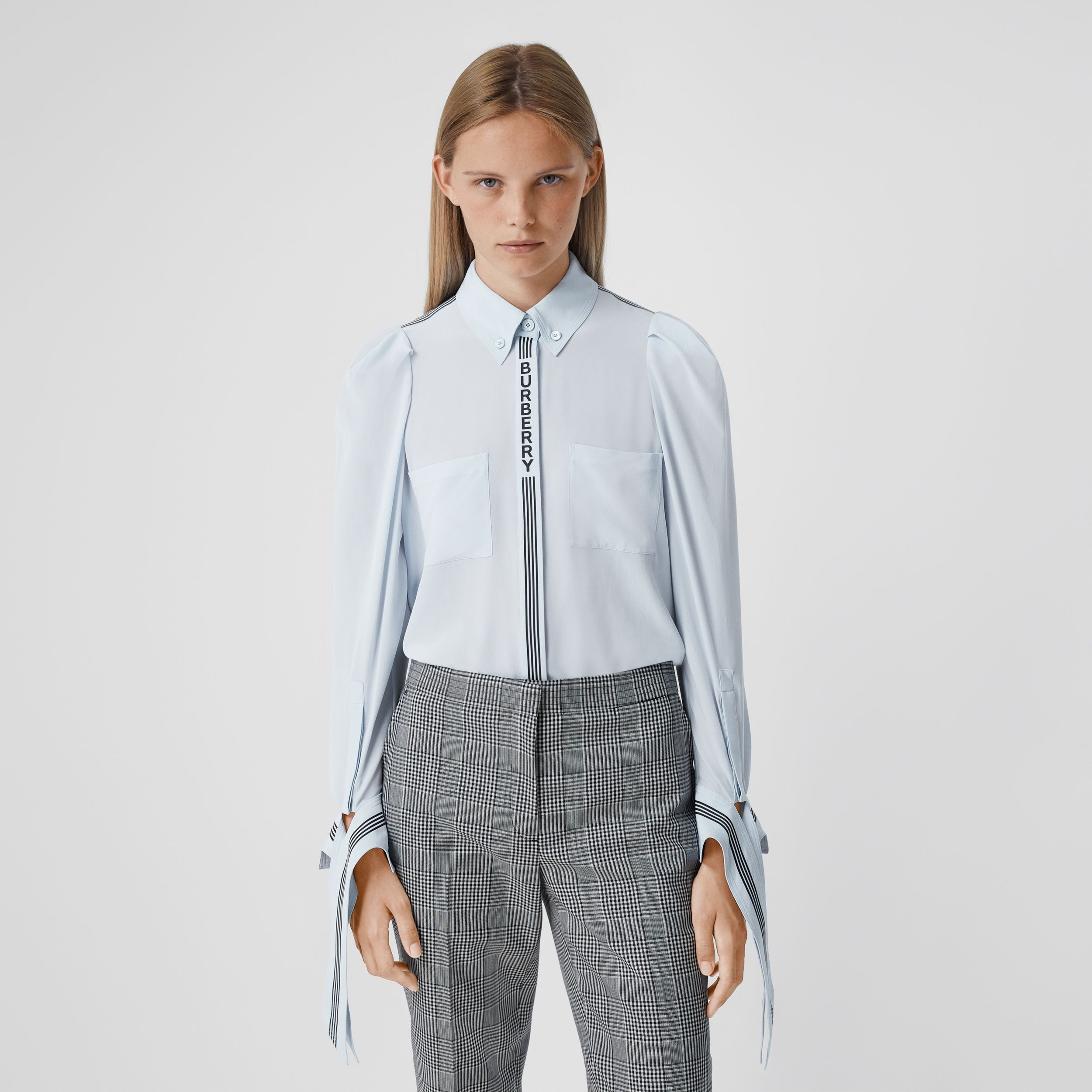 Logo Print Silk Crepe De Chine Shirt - Women | Burberry - 1