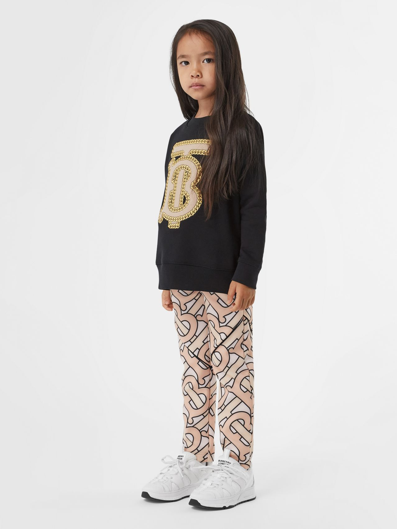Embroidered Monogram Motif Cotton Sweatshirt in Black