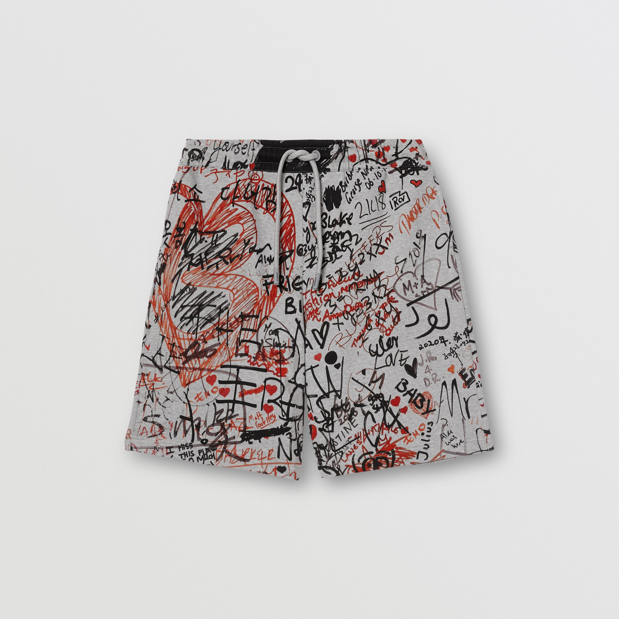 Graffiti Print Cotton Drawcord Shorts in Pale Grey Melange - Men | Burberry - 4
