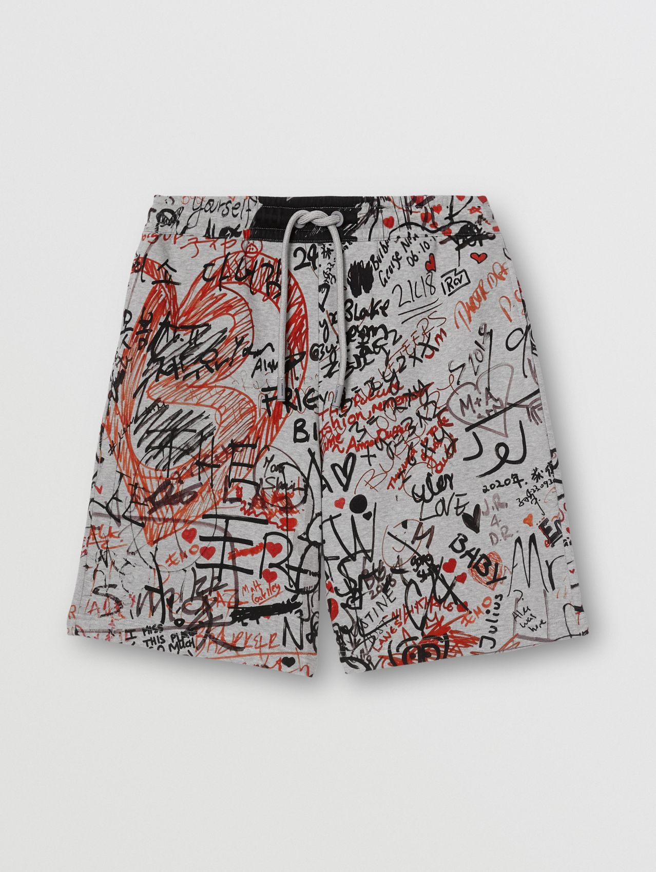 Graffiti Print Cotton Drawcord Shorts in Pale Grey Melange