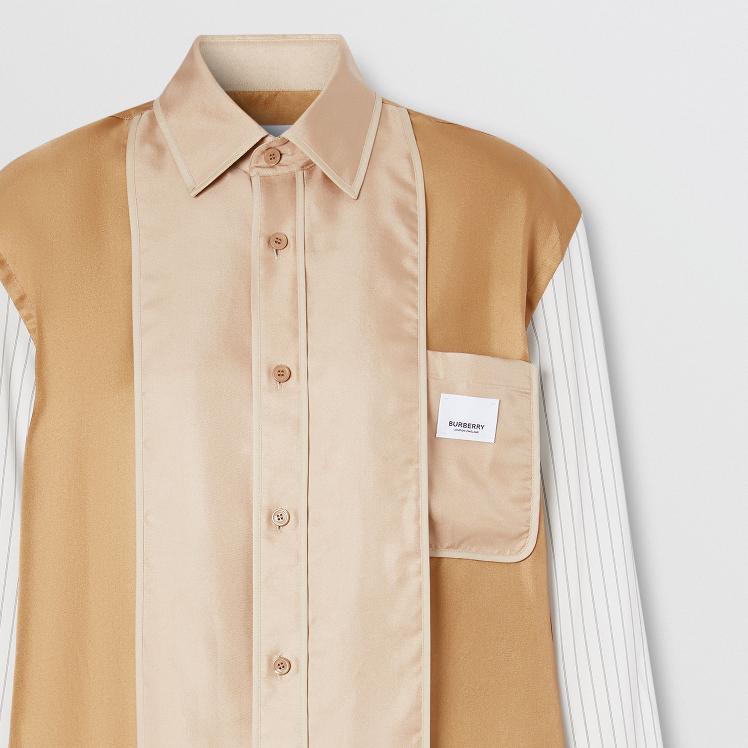 Logo Appliqué Pinstriped Sleeve Silk Shirt in Camel - Women | Burberry - 3