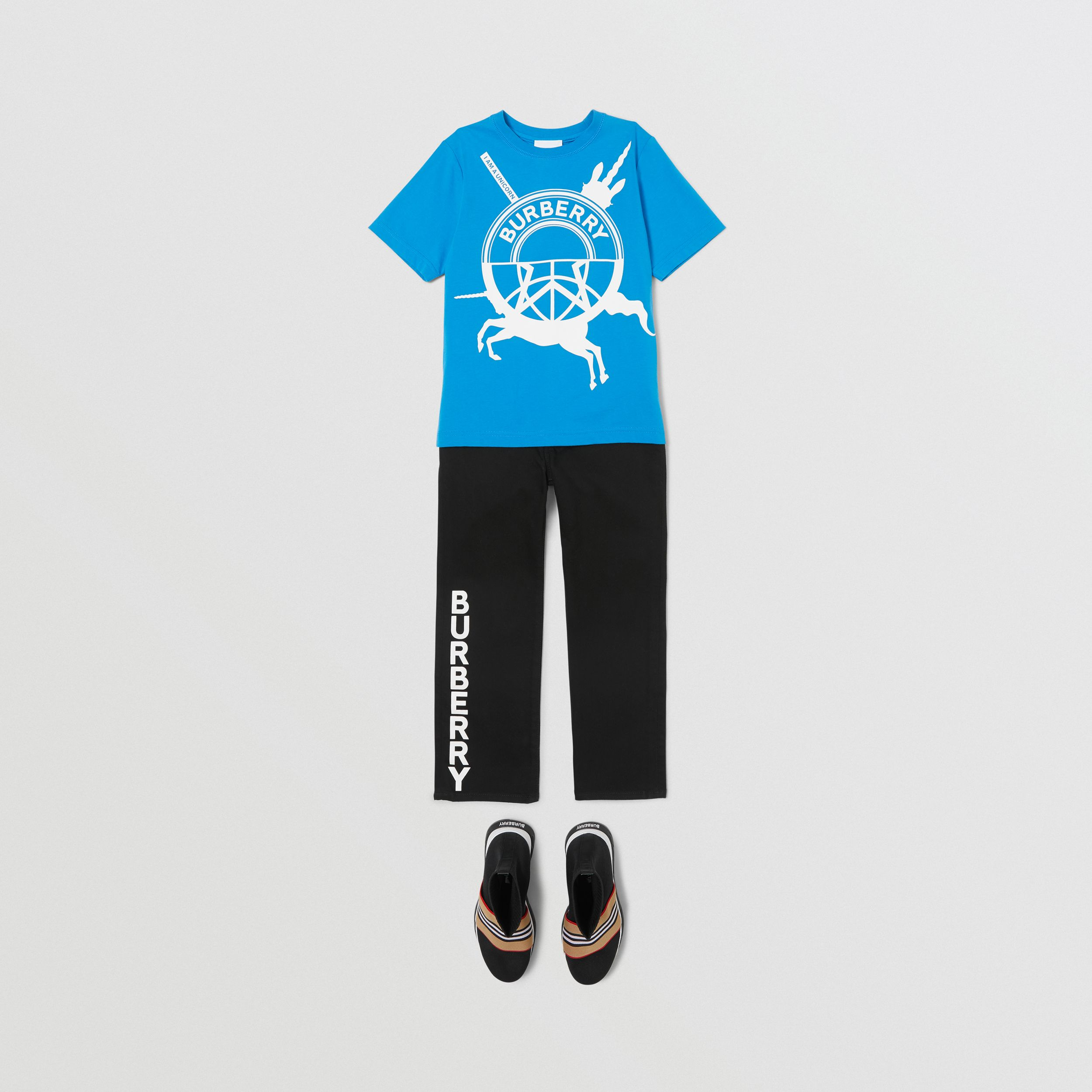 Logo Graphic Print Cotton T-shirt in Cerulean Blue | Burberry Hong Kong S.A.R. - 3